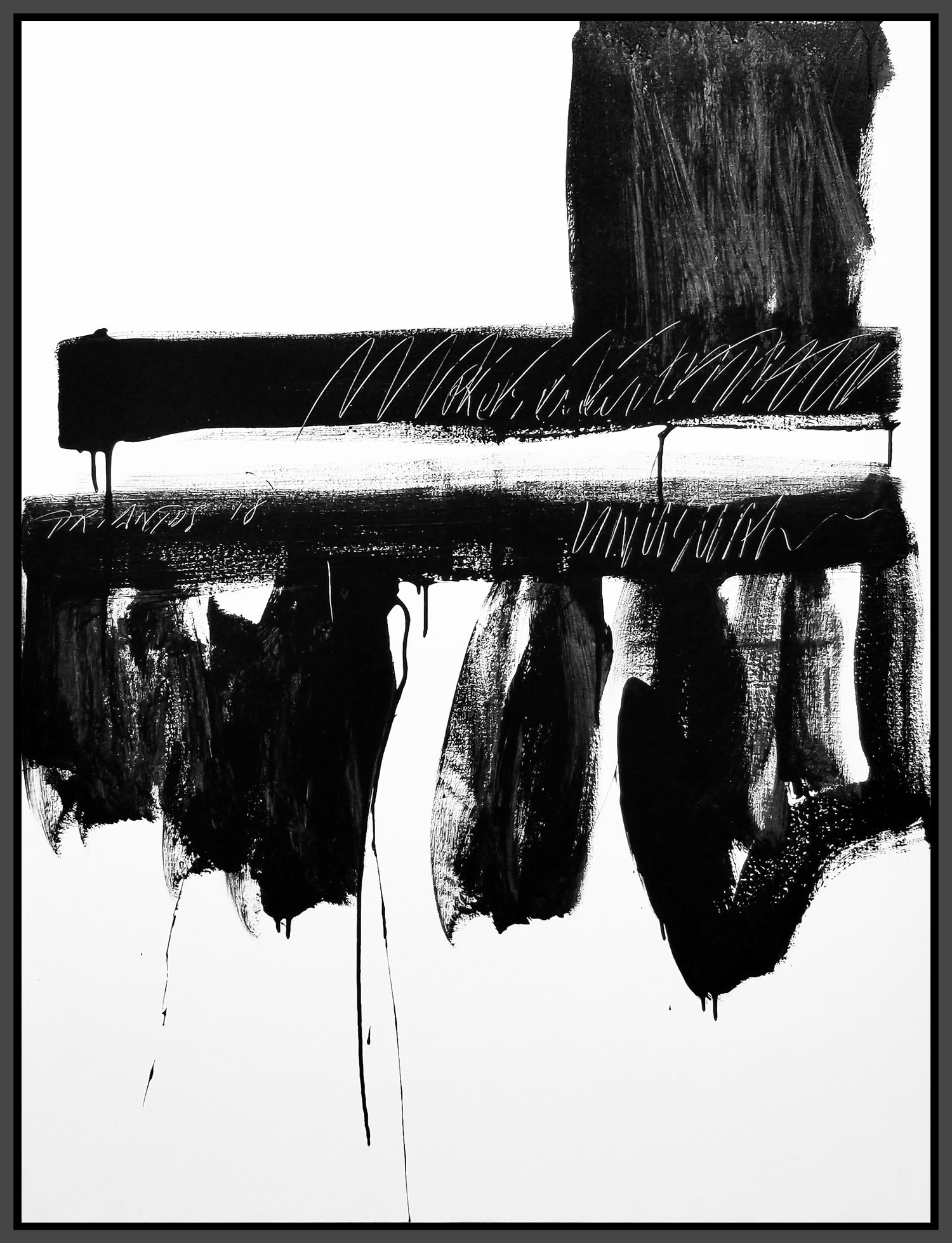 "Black and White #63, 2018, acrylic on canvas, 48"" x 36"" (122 x 91.4 cm)"