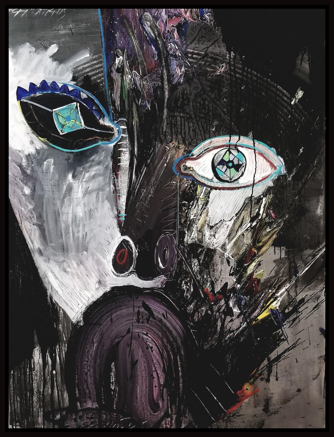 "Black & White #70, 2019, acrylic on canvas, 48"" x 36"" (122 x 91.44 cm)"