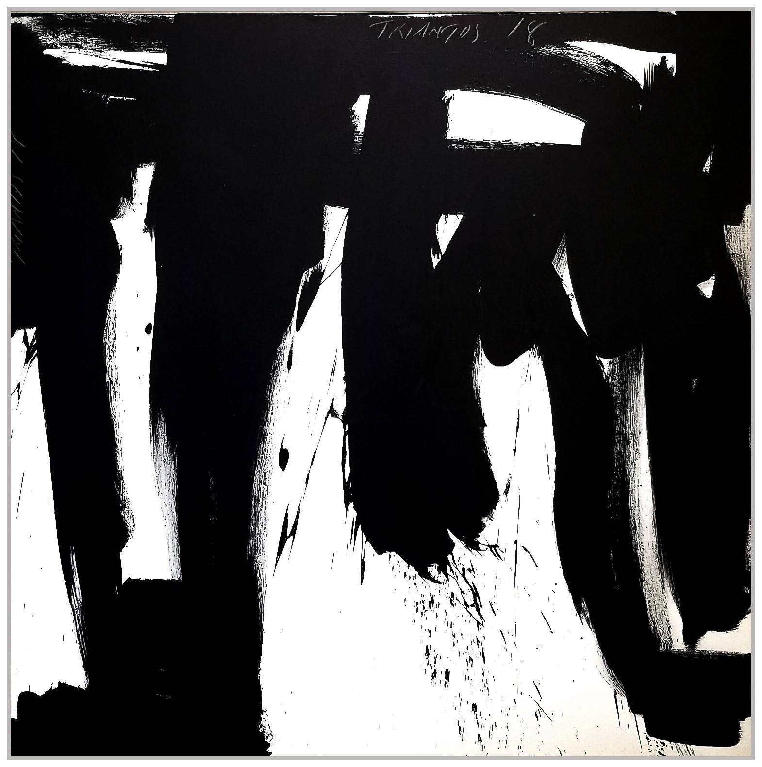 "Black & White #71, 2019, acrylic on canvas, 48"" x 48"" (122 x 122 cm)"