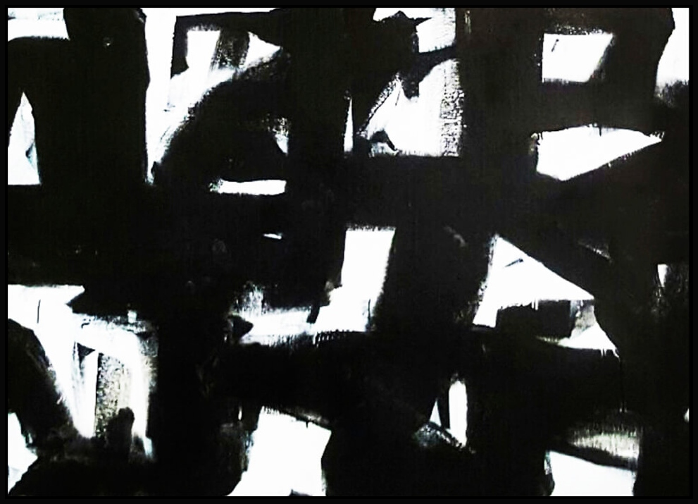 "Black & White #38, 2016, enamel on canvas, 44"" x 62"" (112 x 157.5 cm)"