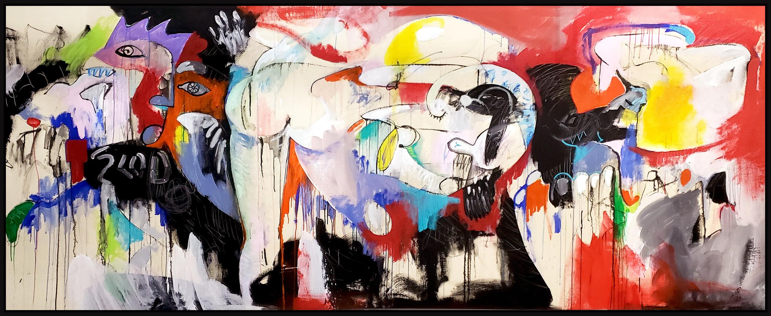 "Untitled #116, 2019, acrylic on canvas, 48"" x 120"" (122 x 305 cm)"