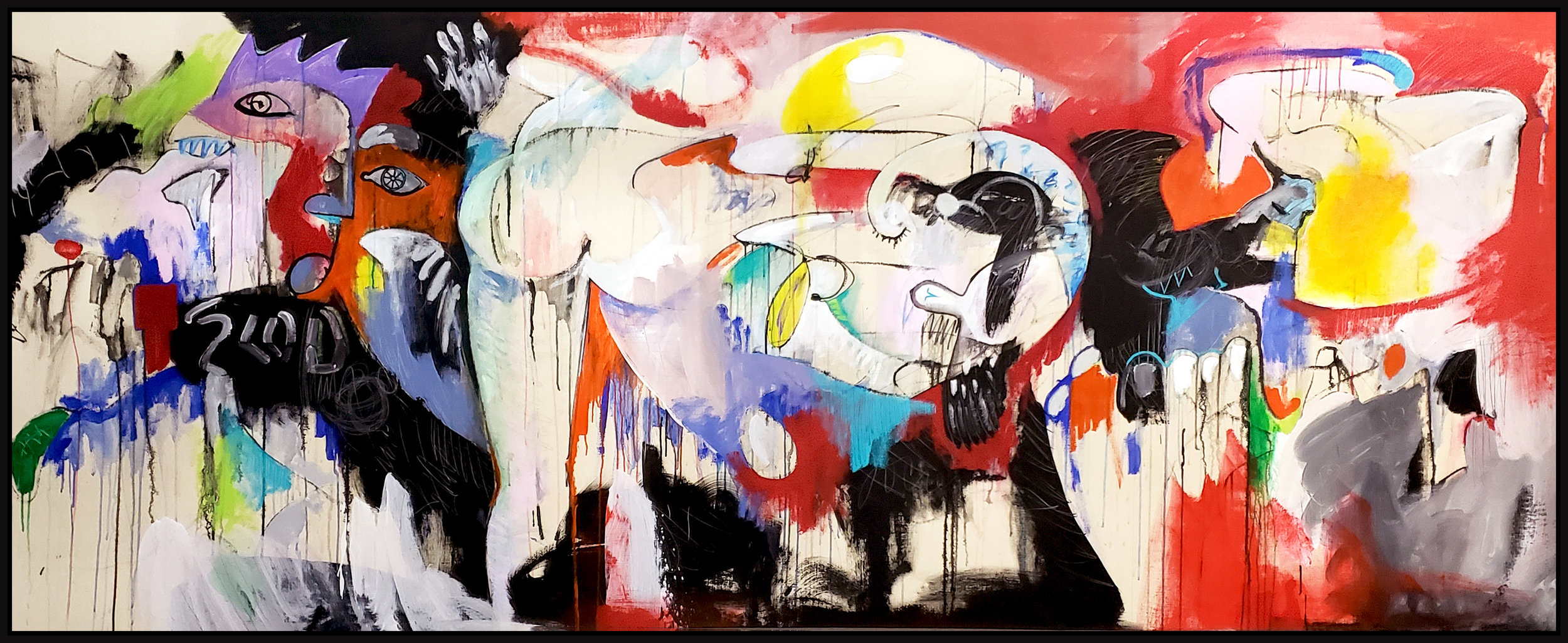 "Untitled #116, 2019, acrylic on canvas, 48"" x 120"" (122 x 305 cm)"