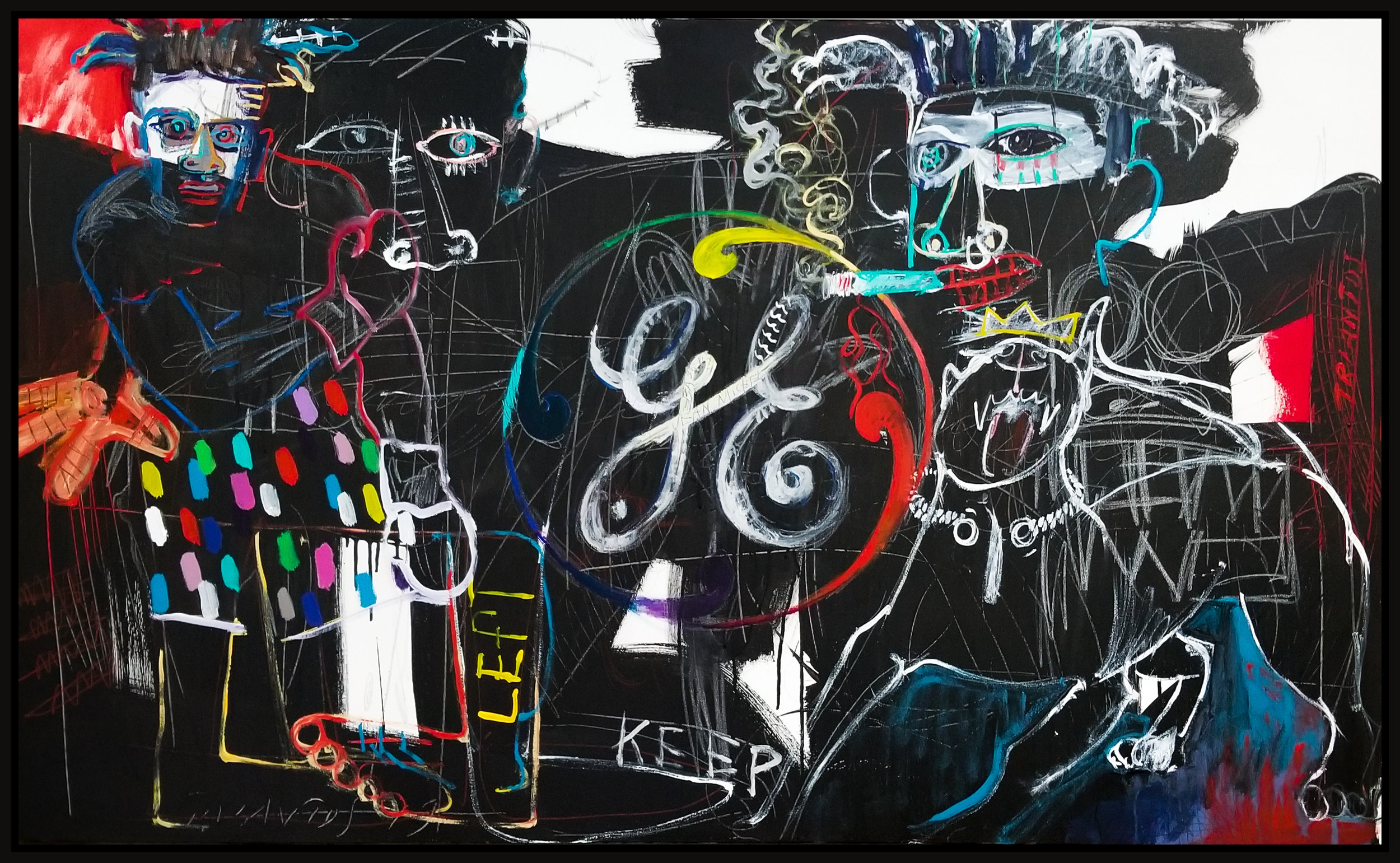 "Homage Basquiat (Untitled #129), 2019, acrylic on canvas, 36"" x 60"" (91.4 x 152 cm)"