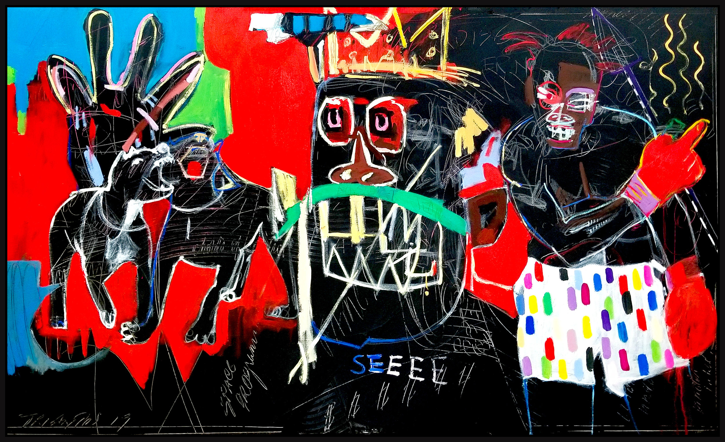 "Homage Basquiat (Untitled #128) , 2019, acrylic on canvas, 36"" x 60"" (31.4 x 152 cm) in Seoul, Korea"