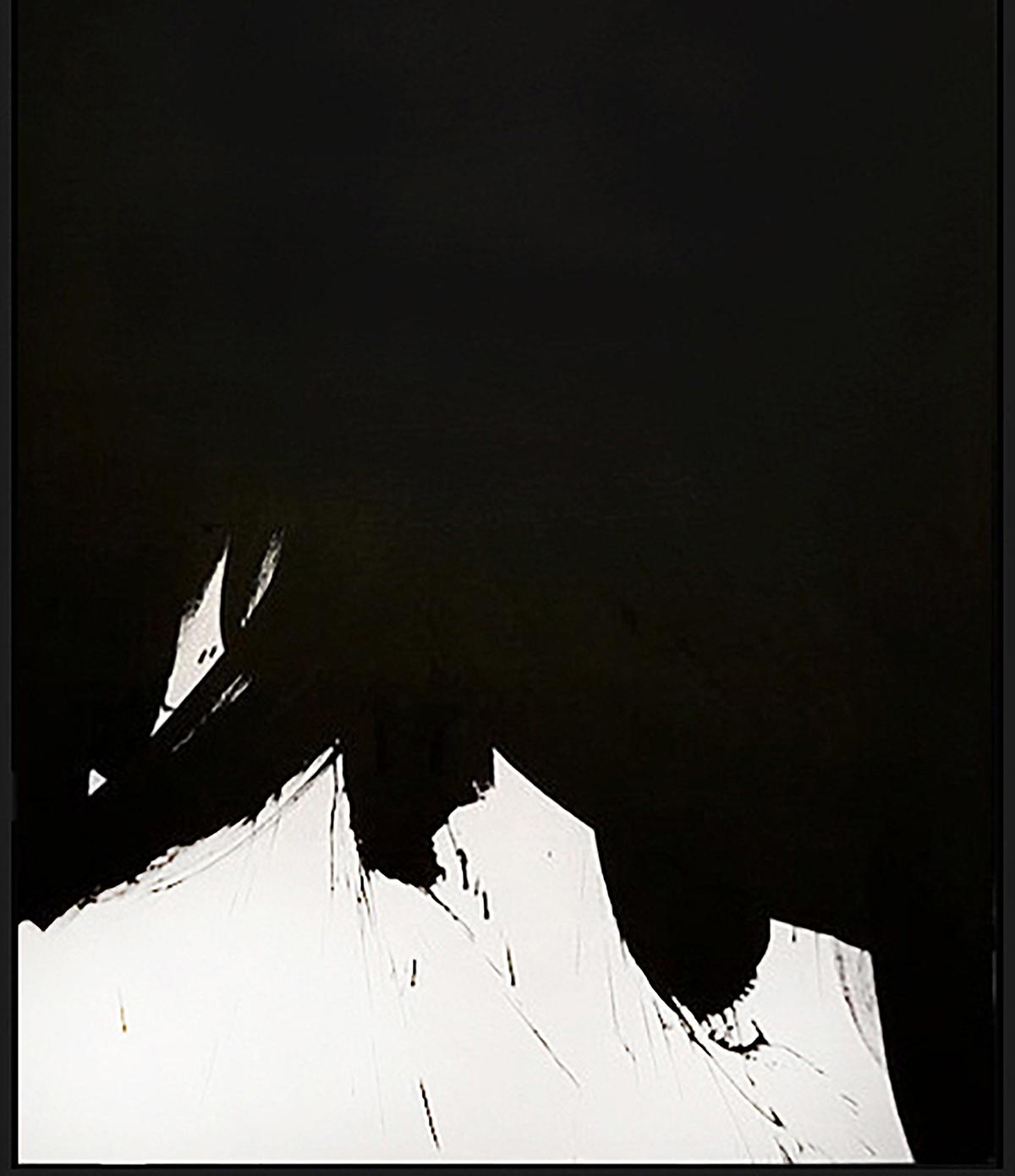 "Black & White #5, 2018, acrylic on canvas, 48"" x 36"" (122 x 91.4 cm)"