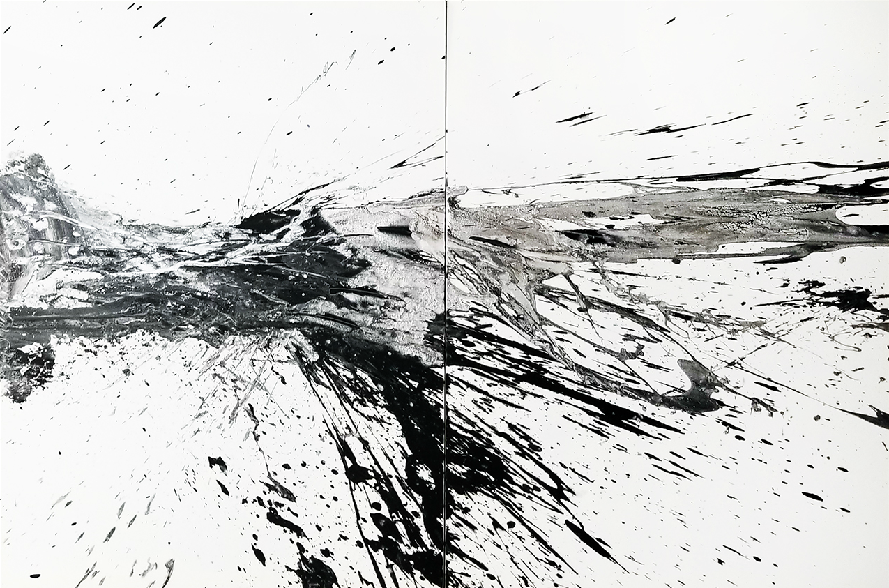 "Black and White #12, 2018, acrylic on canvas, 48"" x 72"" (122 x 183 cm)"