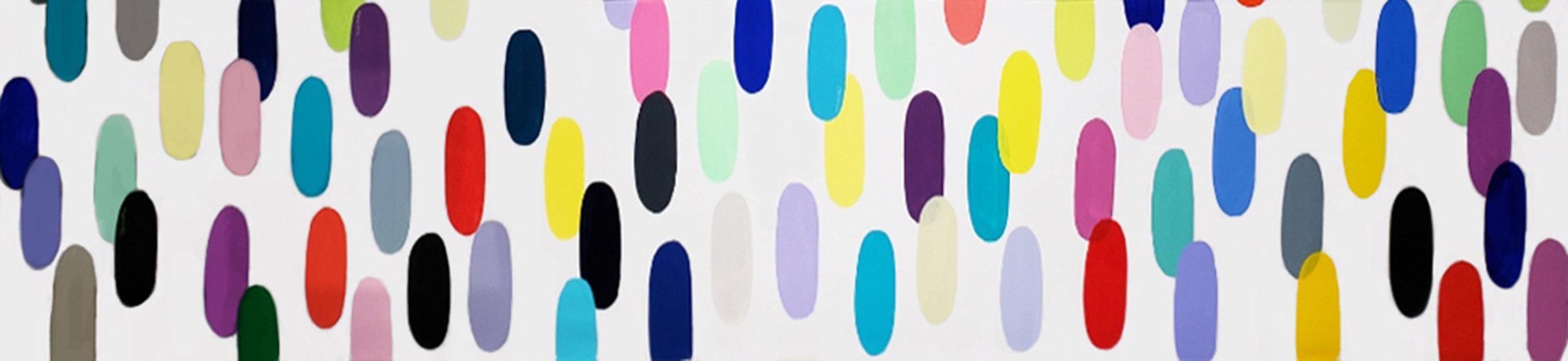 """Jelly Bean #62, 2019, acrylic on canvas, 144"""" x 36"""" (357 x 91.4cm)"""