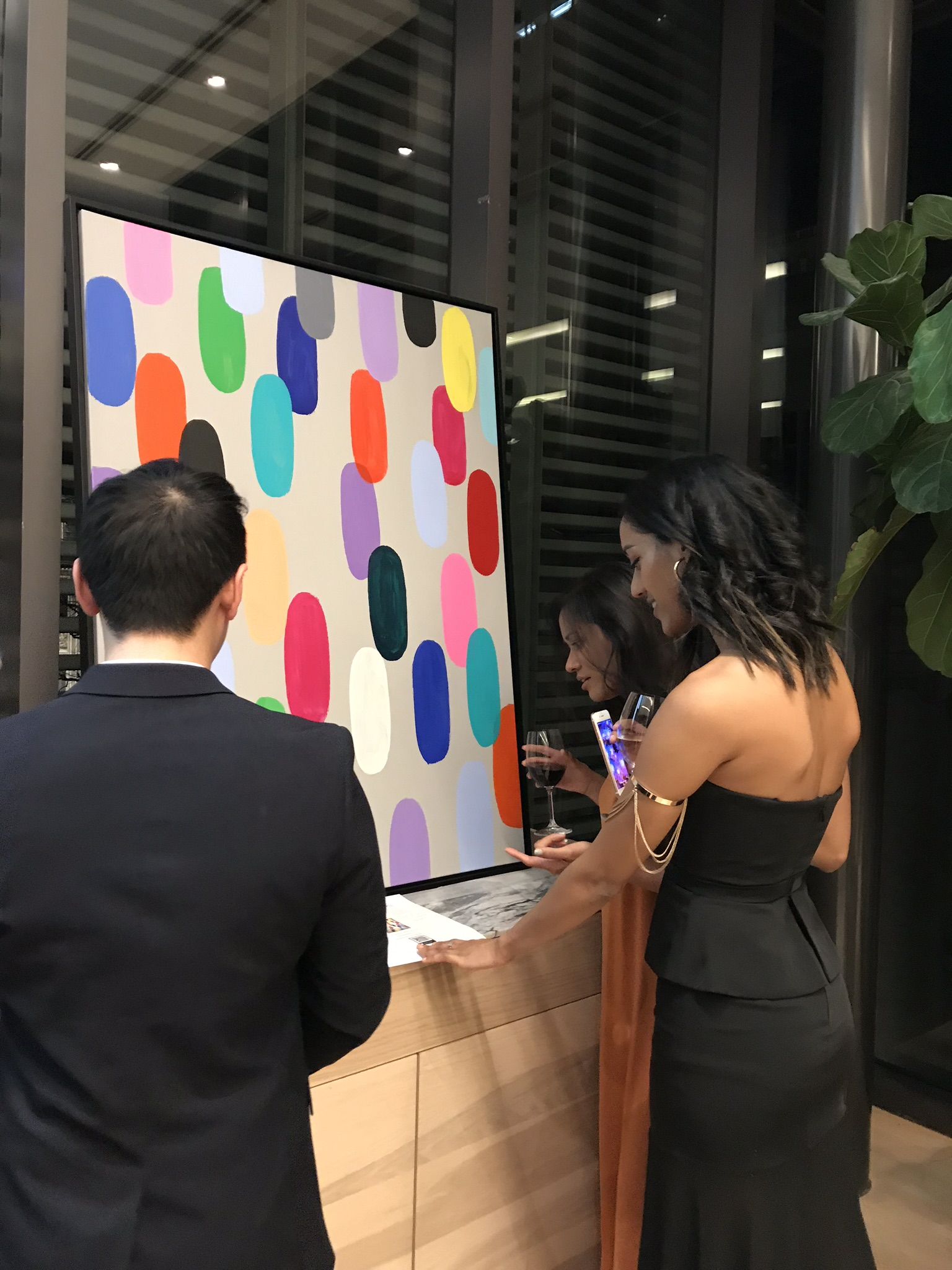 """- """"I'm sure you already know how much your work inspires and speaks to people from all walks of life. Our event attendees could not stop marvelling at your incredible piece and it was the backdrop for many pictures taken at the event. People seemed to gravitate towards it throughout the night….Thank you again for your generous support.""""-SickKids Social Committee"""