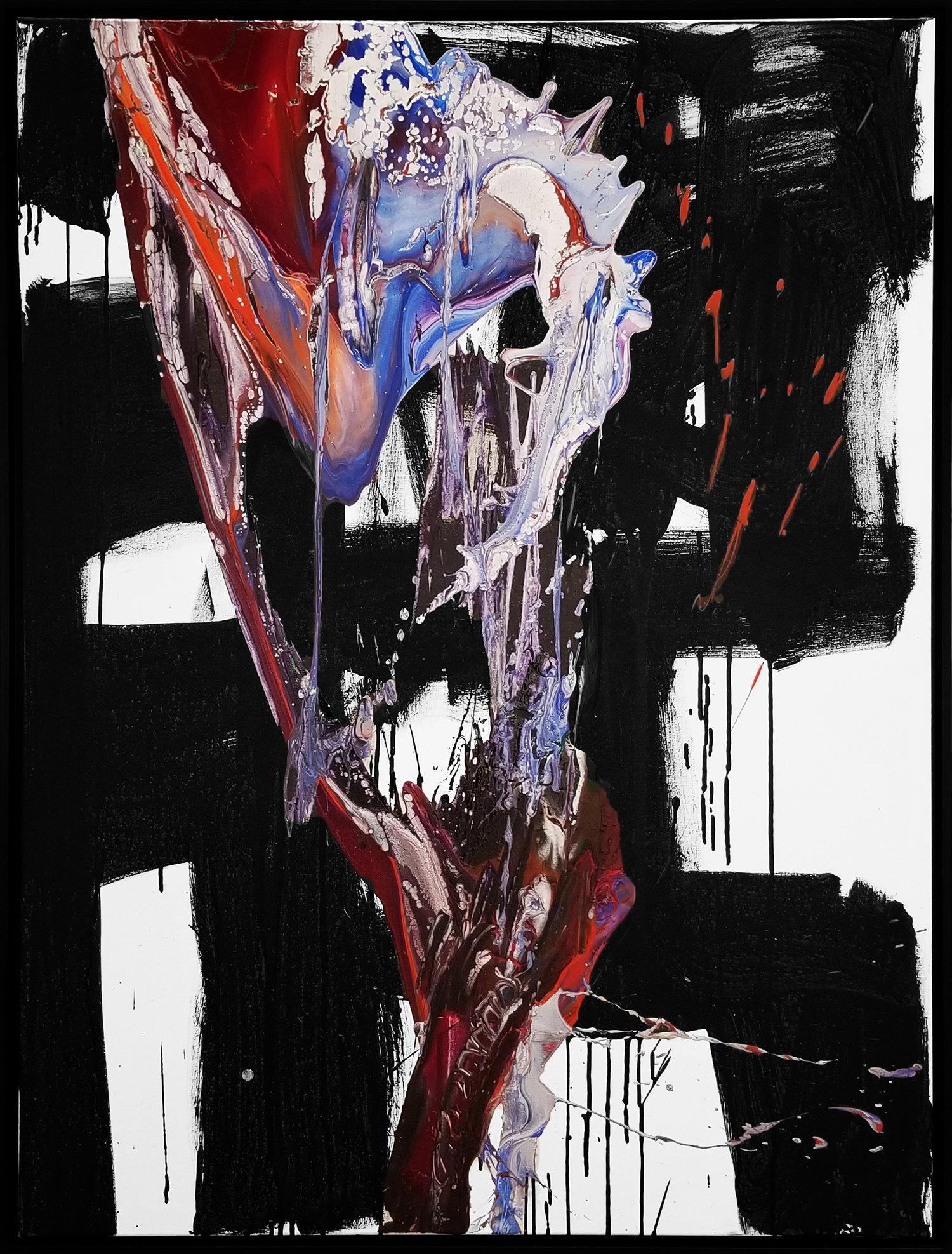 "Splash of Color 2 #130, 2018, acrylic on canvas, 48"" x 36"" (121 x 91.4 cm)"