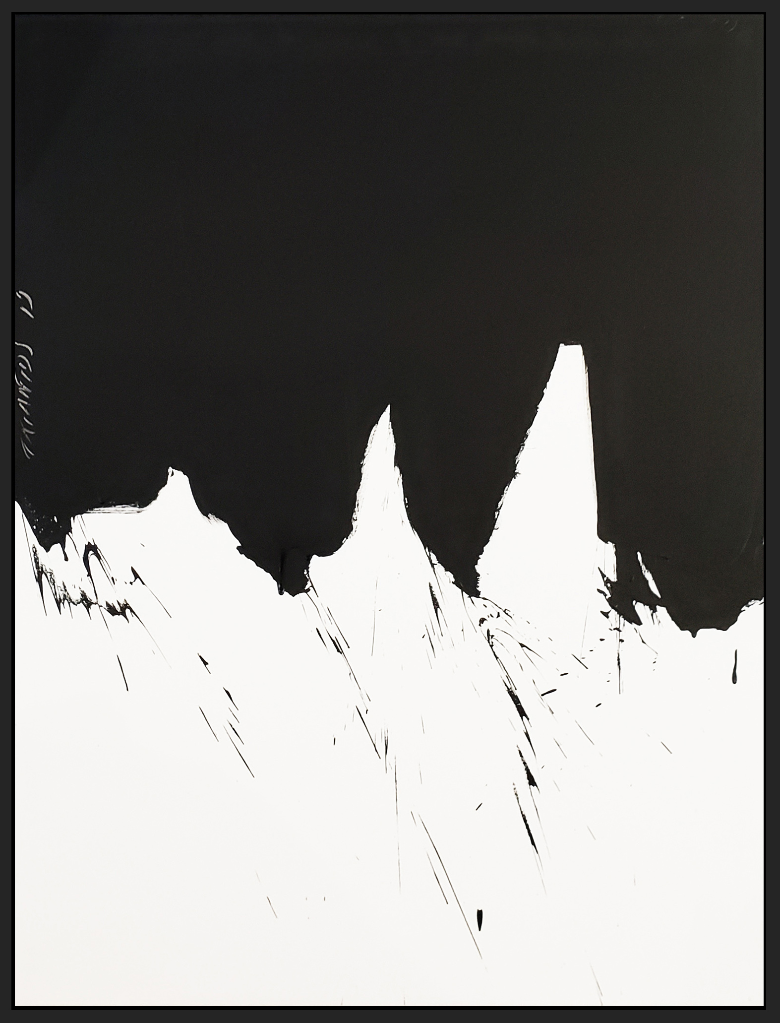 "Black and White #80, 2019, acrylic on canvas, 48"" x 36"" (122 x 91.4cm)"