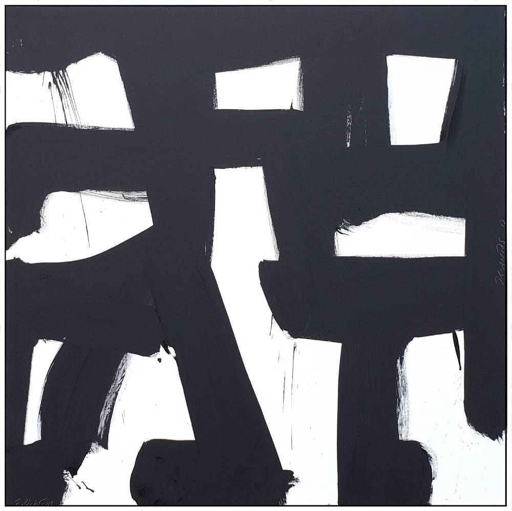 "Black and White #87, 2019, acrylic on canvas, 48"" x 48"" (122 x 122 cm)"