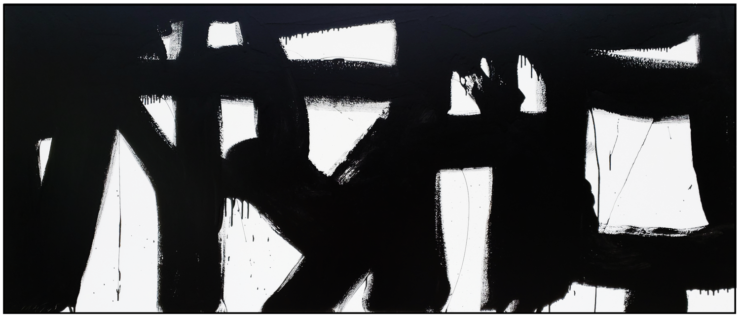 "Black and White #85, 2019, acrylic on canvas, 36"" x 84"" (91.4 x 213 cm)"
