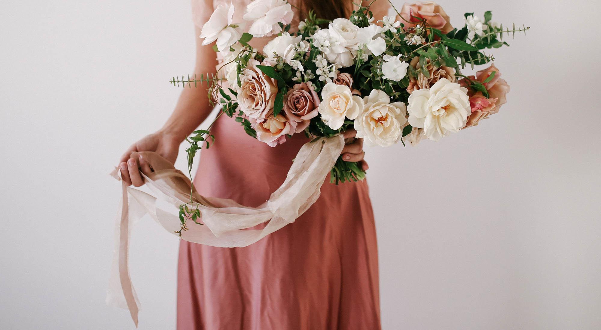 Chiffon Ribbon wedding bouquet Neutral color palette