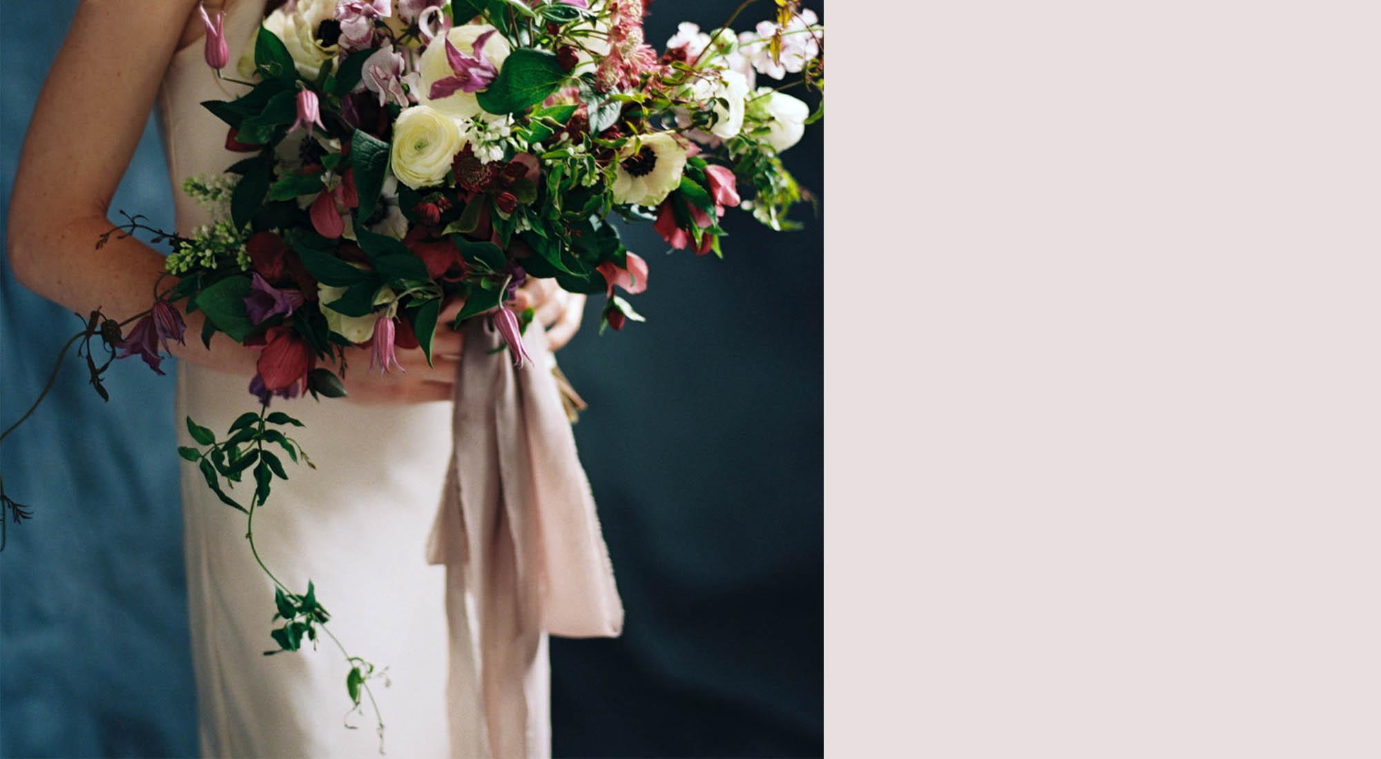 Chiffon Ribbon wedding bouquet rose color palette