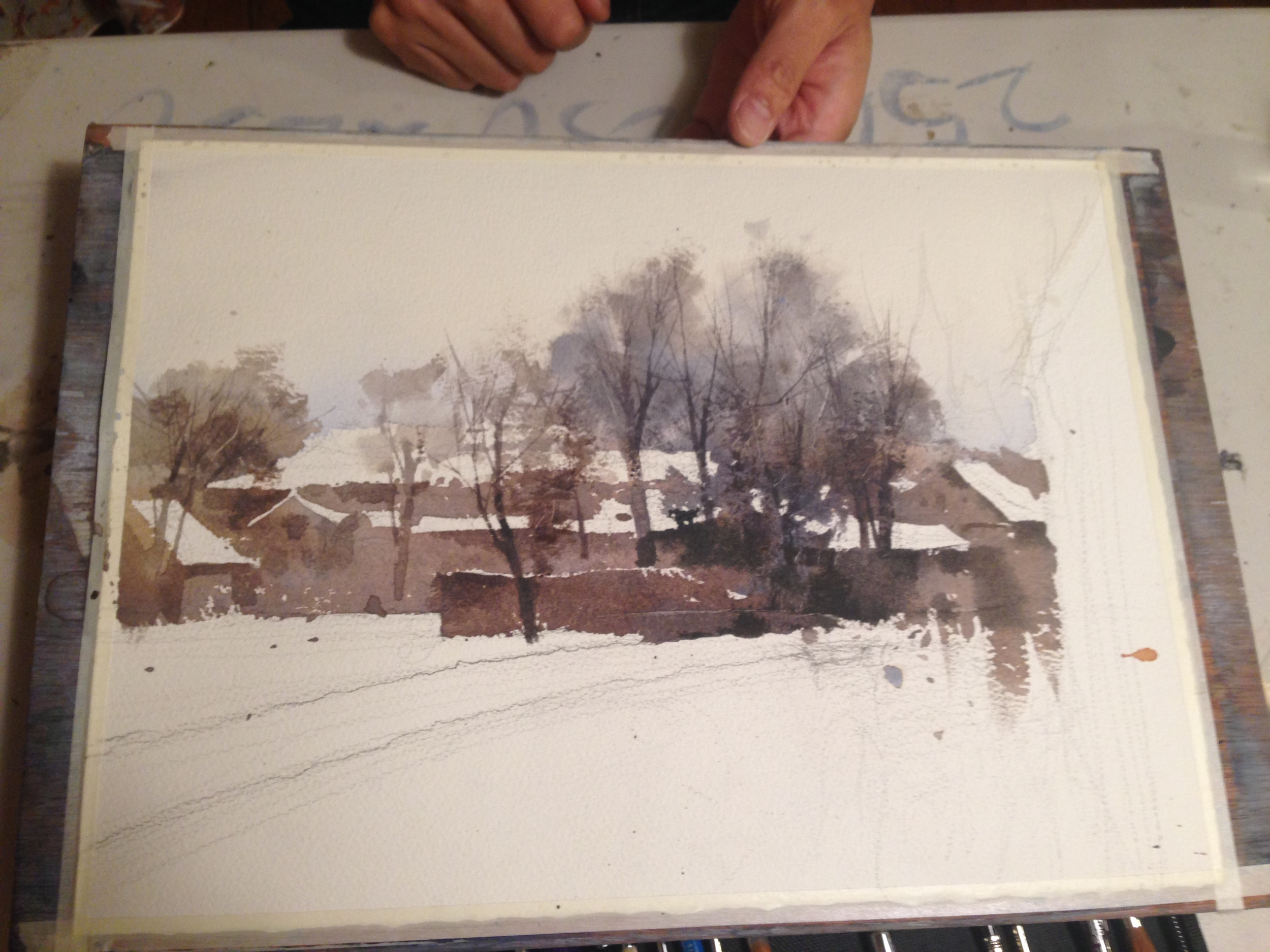 The trees take form but the inclusion of delicate dry brush work done on top of the earlier wet-into-wet work.