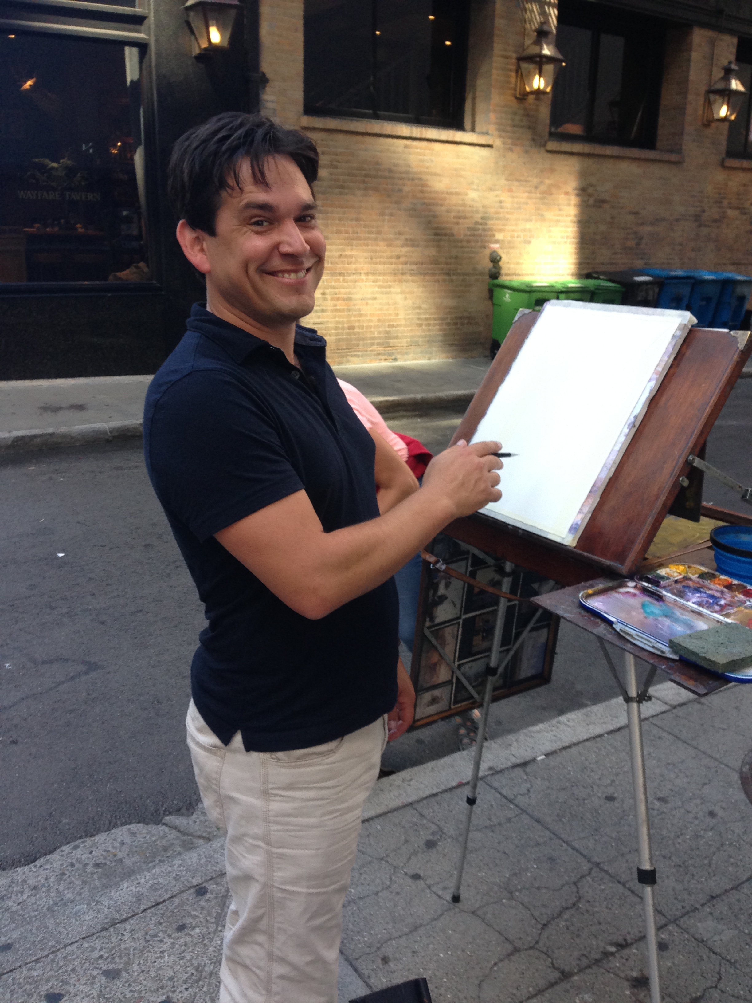 That's me, at Josephs Easel. He let some of us paint on it, now and then. ! A pretty ingenious design, btw.
