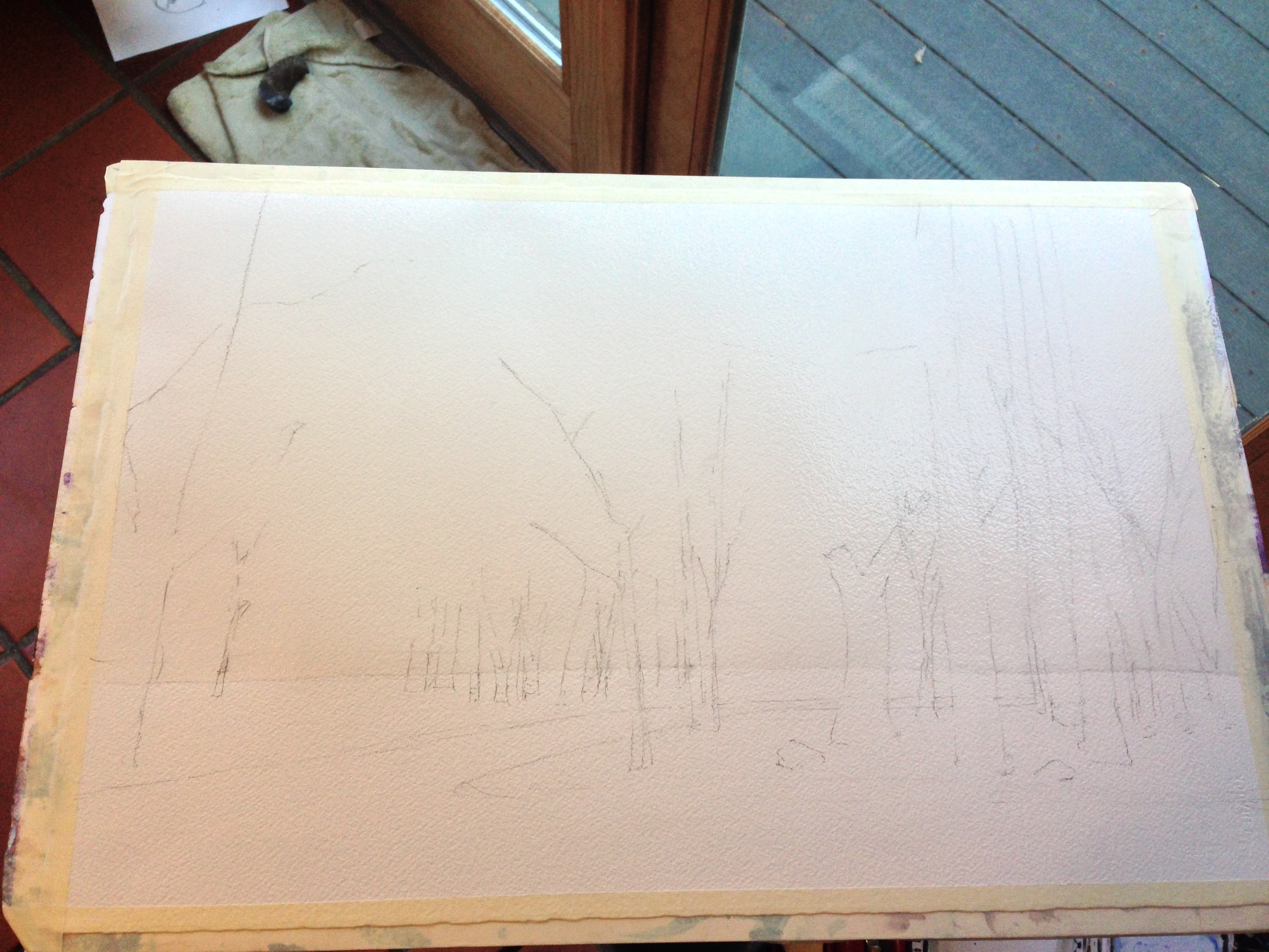 My sketch. You can see the wash of water i did down to the horizon.