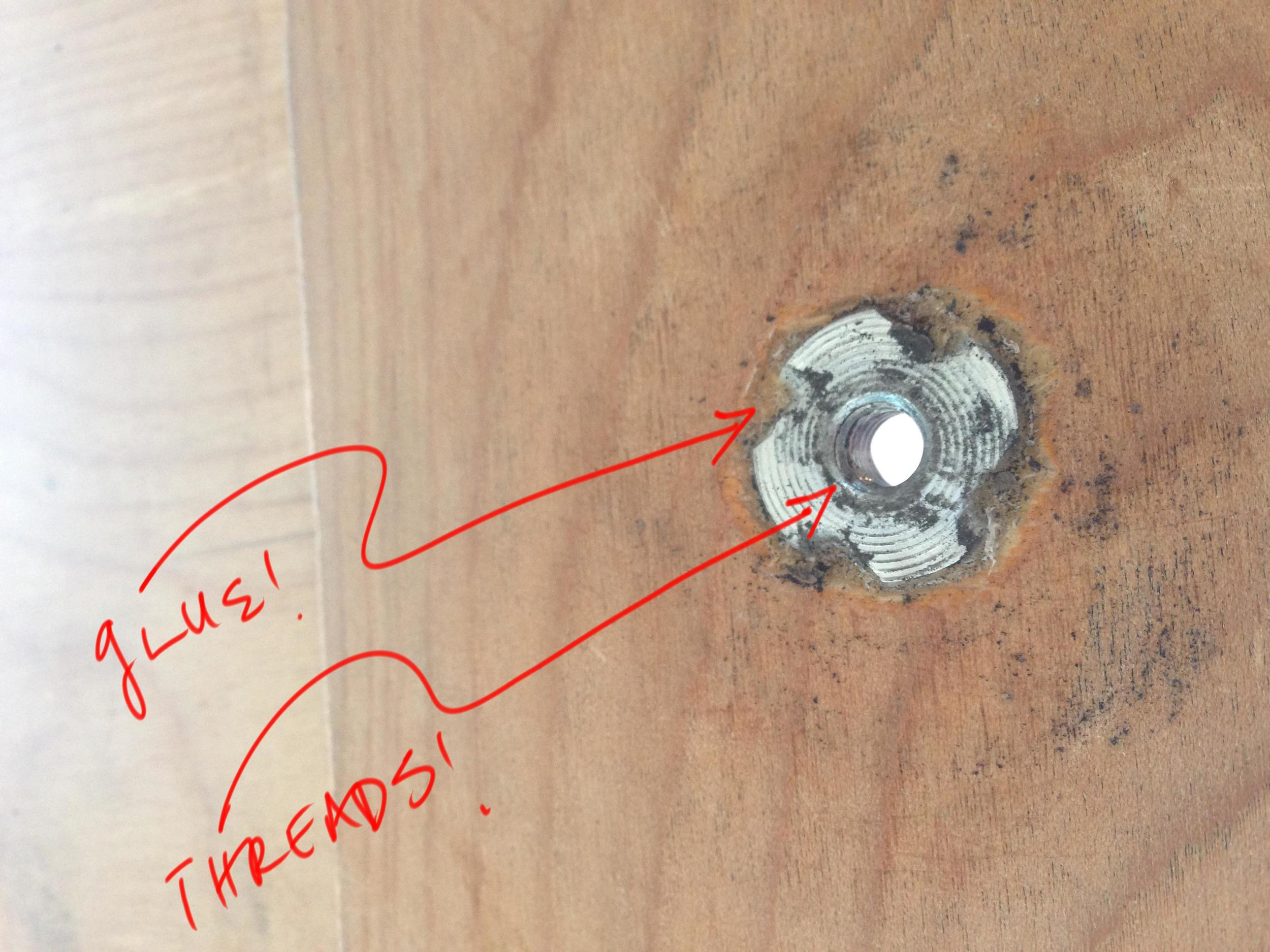 The t-nut glued into place.
