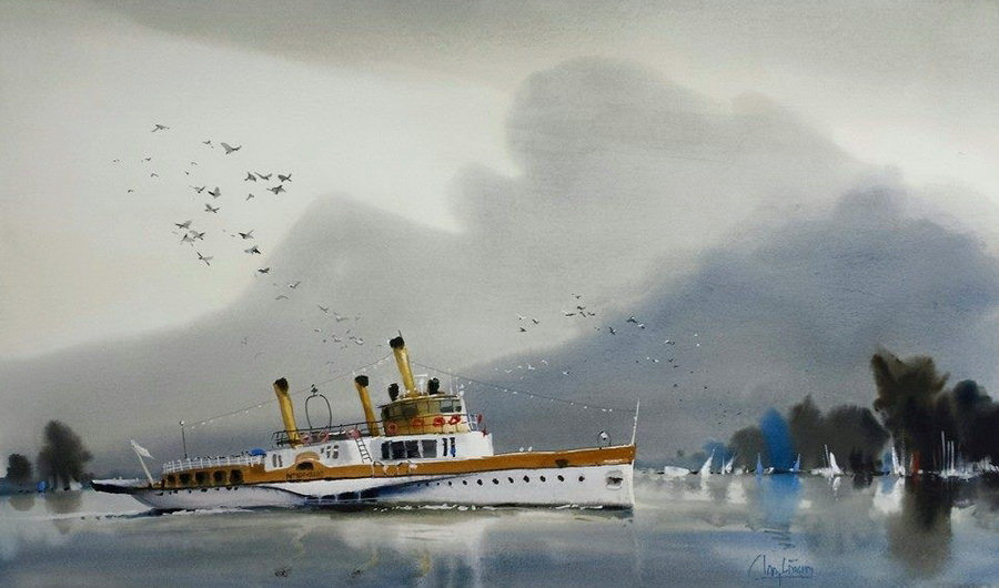 because his work has so much more soft, diffuse, wet into wet work than normal, you really notice where he's decided to have hard lines and separate shapes- like the birds and boat in this one.