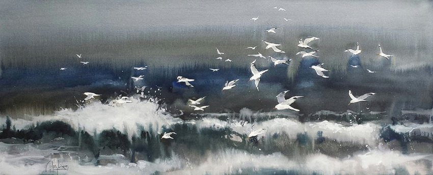 I asked him about the birds in this painting, and he said he preserved them with masking fluid.