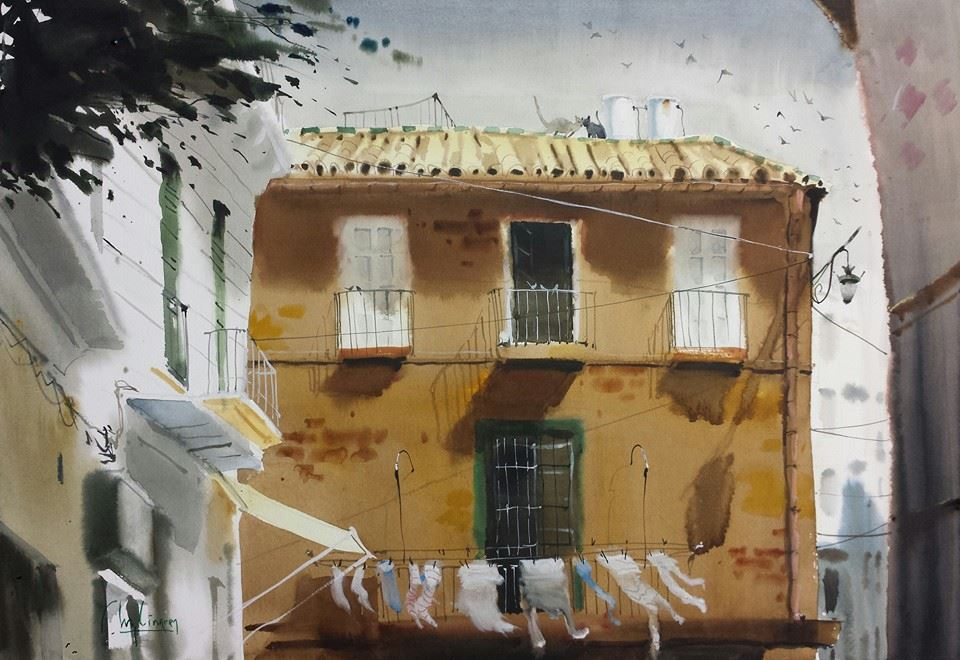 Something I love about his work are the edges. others would paint the white doors in this painting with hard edges, but he leaves them soft and diffuse. The outer edge of the brown building, however, has a clean, hard edge. My presumption is that he painted all around it first (doing the sky and other buildings) and then went into it once they were dry.