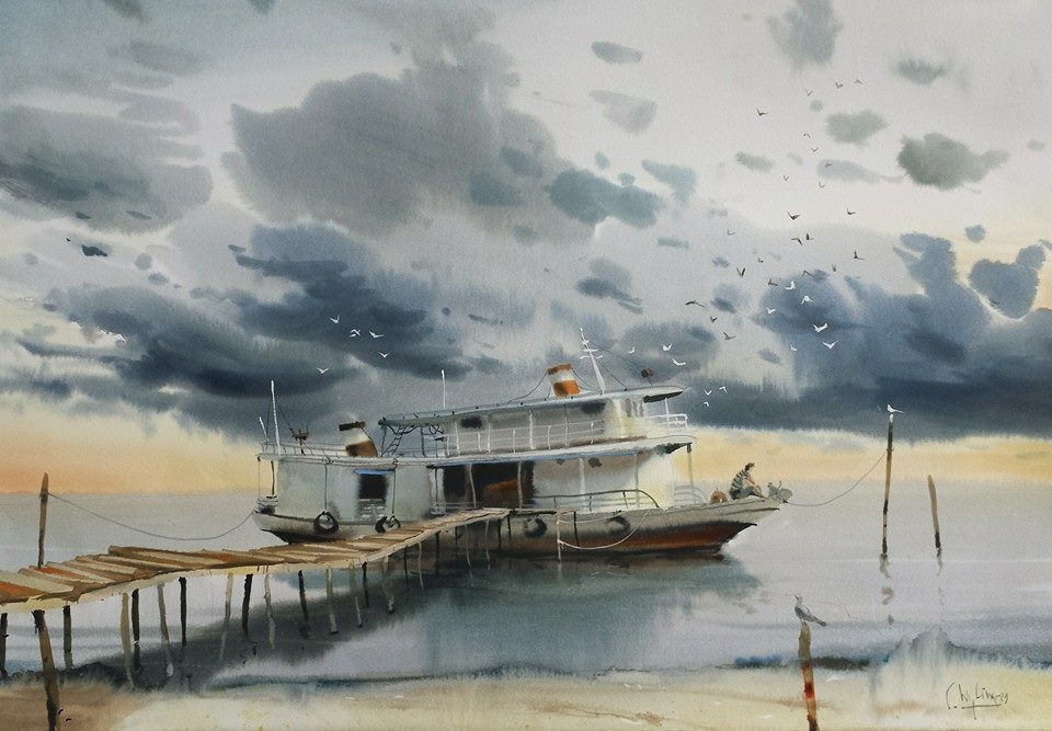 The boat is barely separated from the water. the wet into wet shadows of the dock, pylons, and boat reflection are little different from the clouds up above. even the cast shadows and doors on the form of the boat are soft edged. the similarity of form and edges binds the painting together.