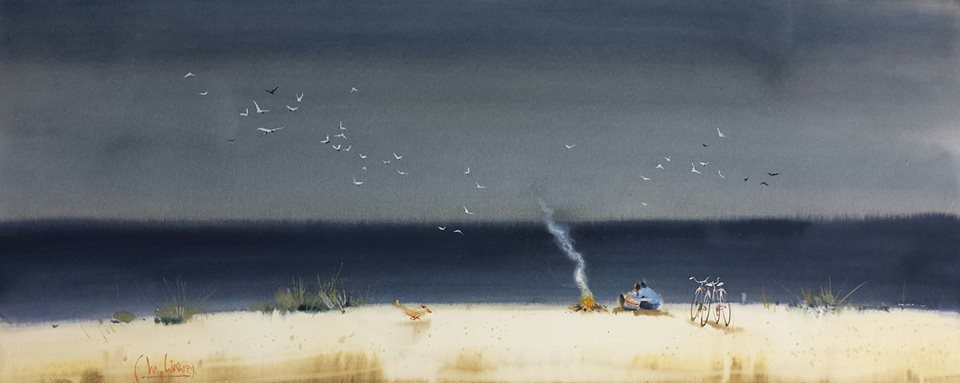 the composition in this painting is interesting to me because of how unnaturally bright the beach is, given the dark value of the ocean and the dark cloudy sky. It makes the beach and the people stand out, but also expresses the subtle feeling of a sunny, welcoming beach against a dark, unwelcoming sky... without having to do much but contrast the values.