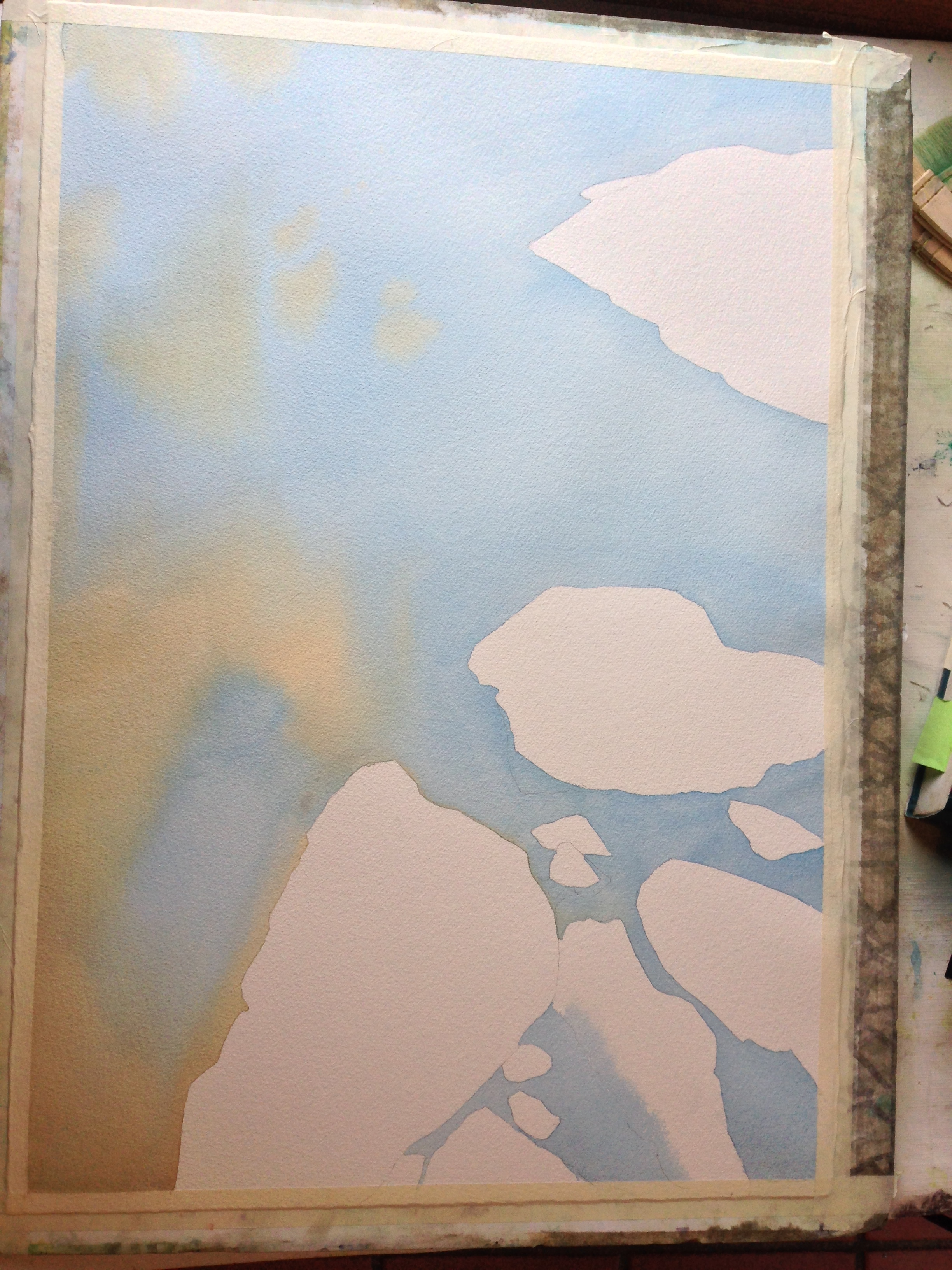 step 1- the water with pthalo blue and a muted yellow ochre mix (yellow ochre, ultramarine blue, and burnt sienna), wet into wet.