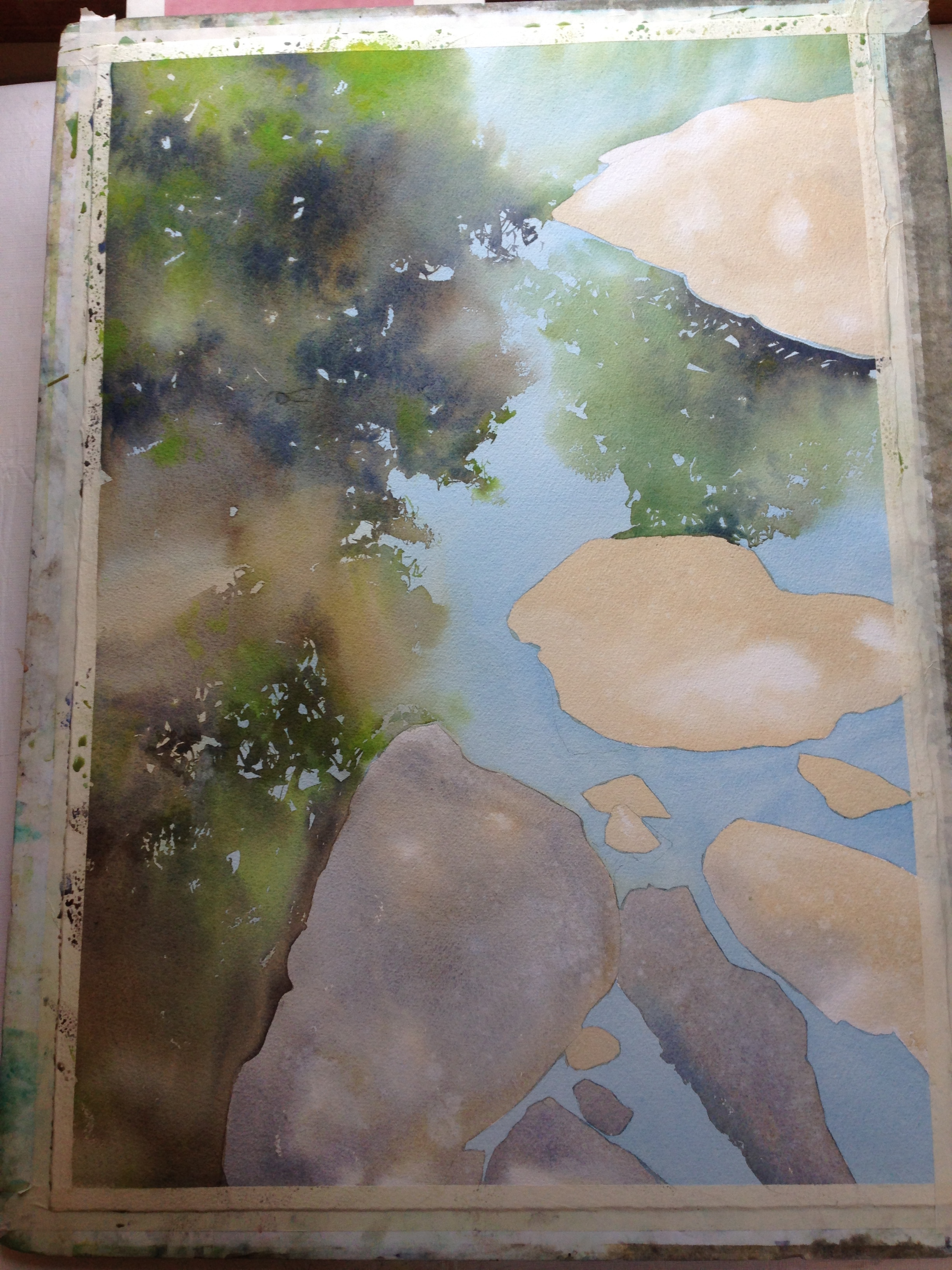 step 3- the tree reflections go in.  The paper is dry when I start, so I can control when I get hard and soft edges.