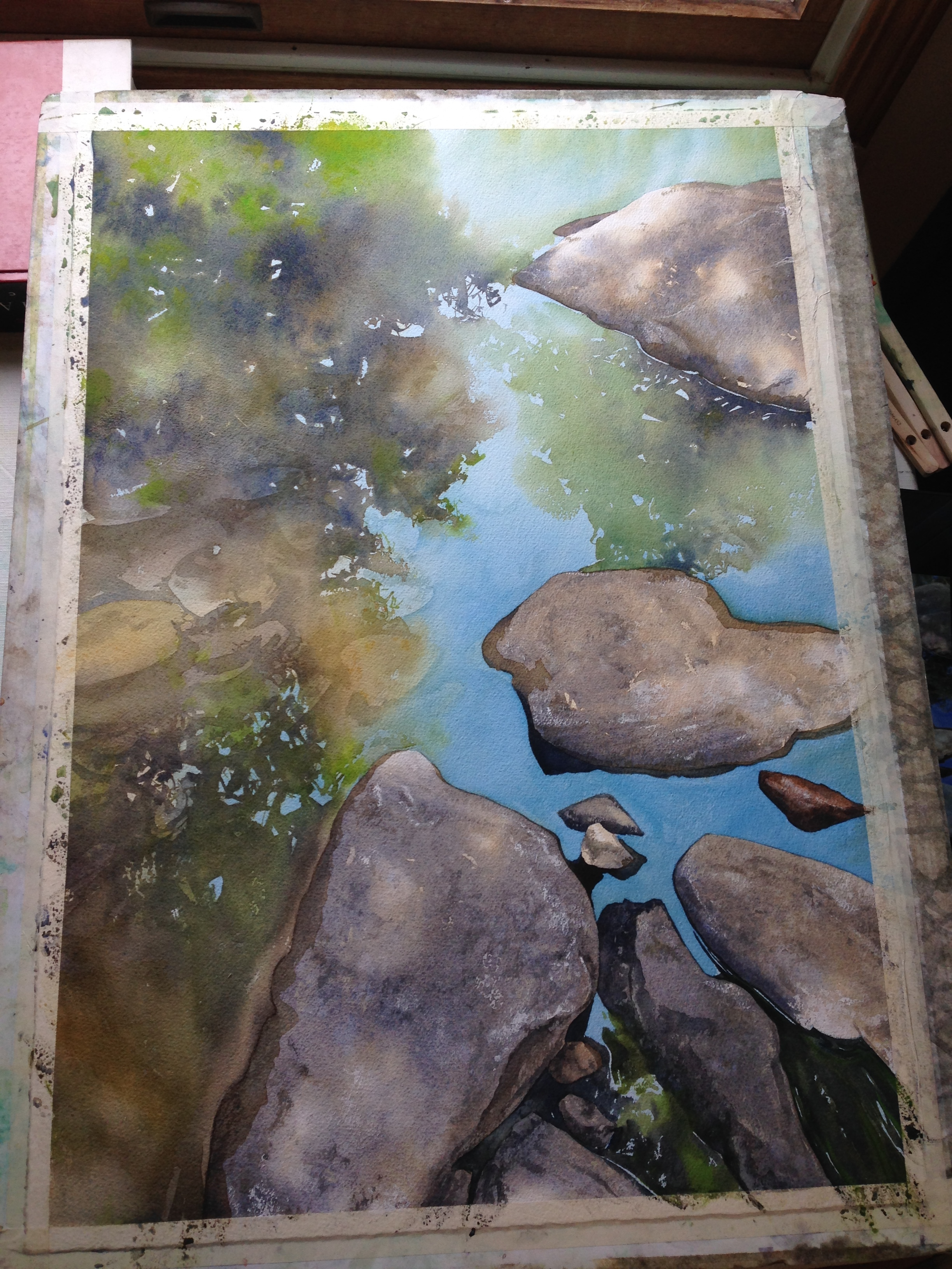 step 6- the rocks under the water go in, very softly in terms of value.
