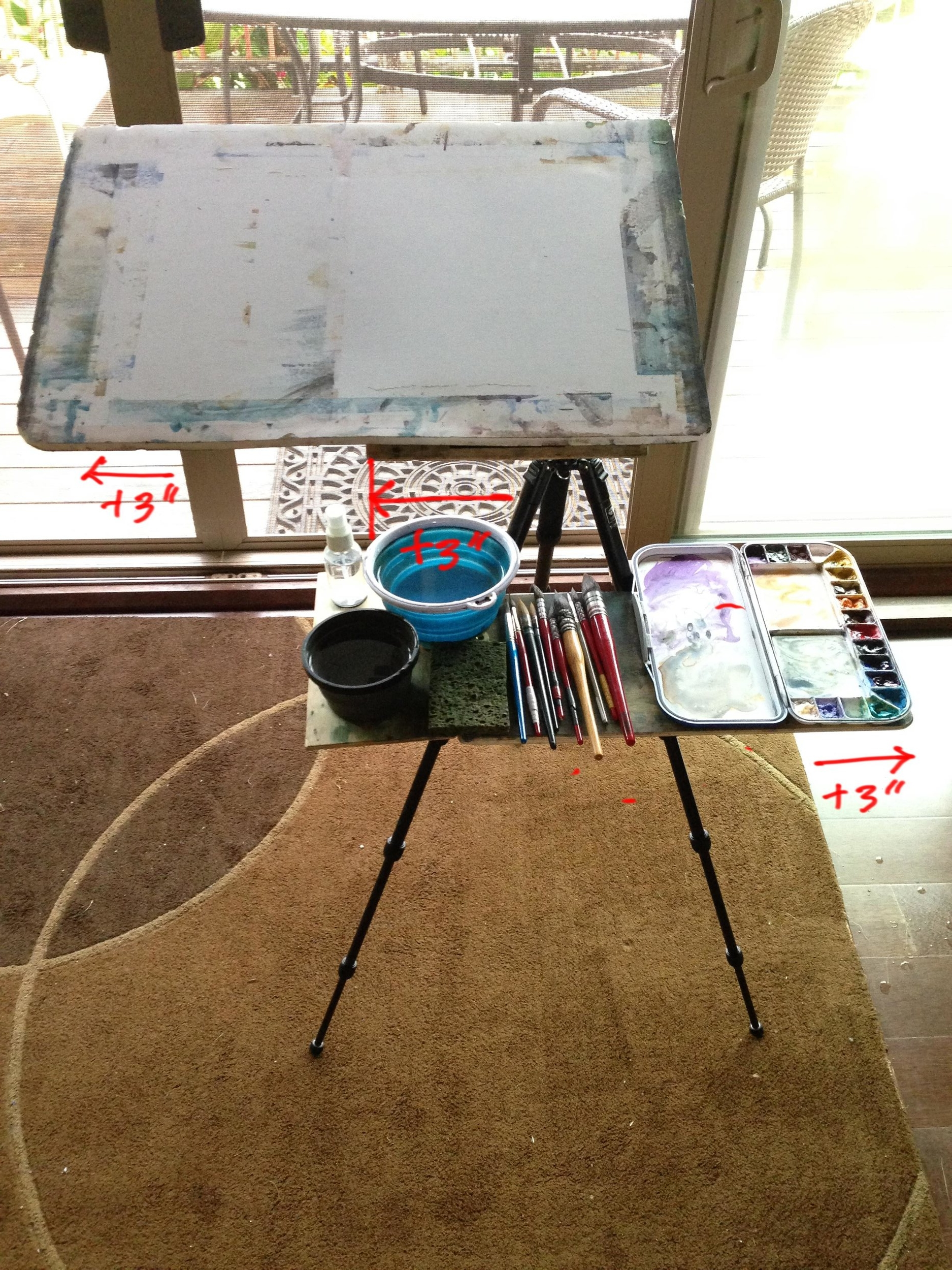 """my current setup. in total, I have 9"""" more on the right, which allows me to fully access my palette. My shelf is also wider, which allows a second water bowl."""