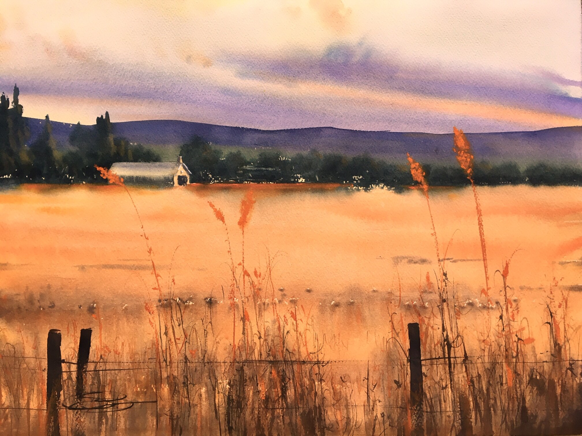 """""""The Sound of Wind on the Grass"""", 24"""" x 36"""" framed"""