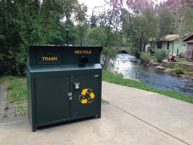 One of the town's new animal resistant trash and recycling bins. The LWV&CRC secured an $18,000 grant from the Colorado Department of Public Health and the Environment to purchase 24 new recycling bins for downtown Estes Park. (CRC photo)