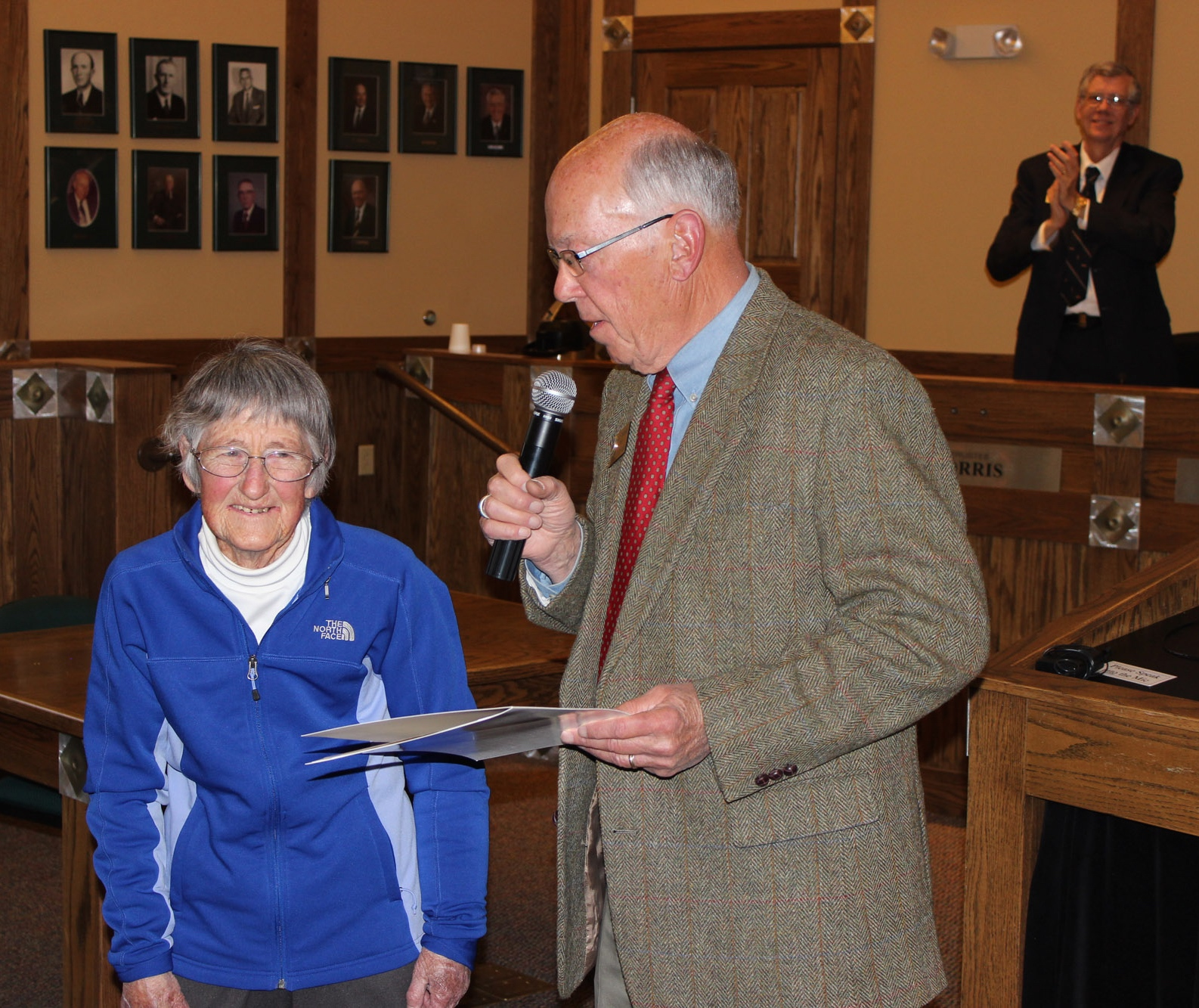 Jean Weaver received a standing ovation along with the Town of Estes Park's Resolution of Respect April 14th at Town Hall. (Town of EP photo)