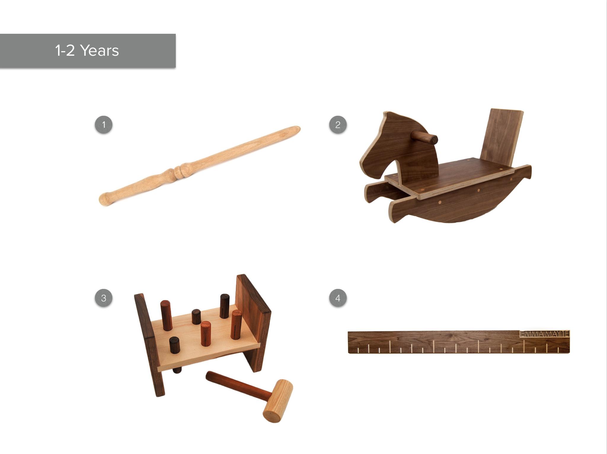 1.  Magic Wand  2.  Walnut Rocking Horse 3.  Hammer Toy 4.  Walnut Growth Chart