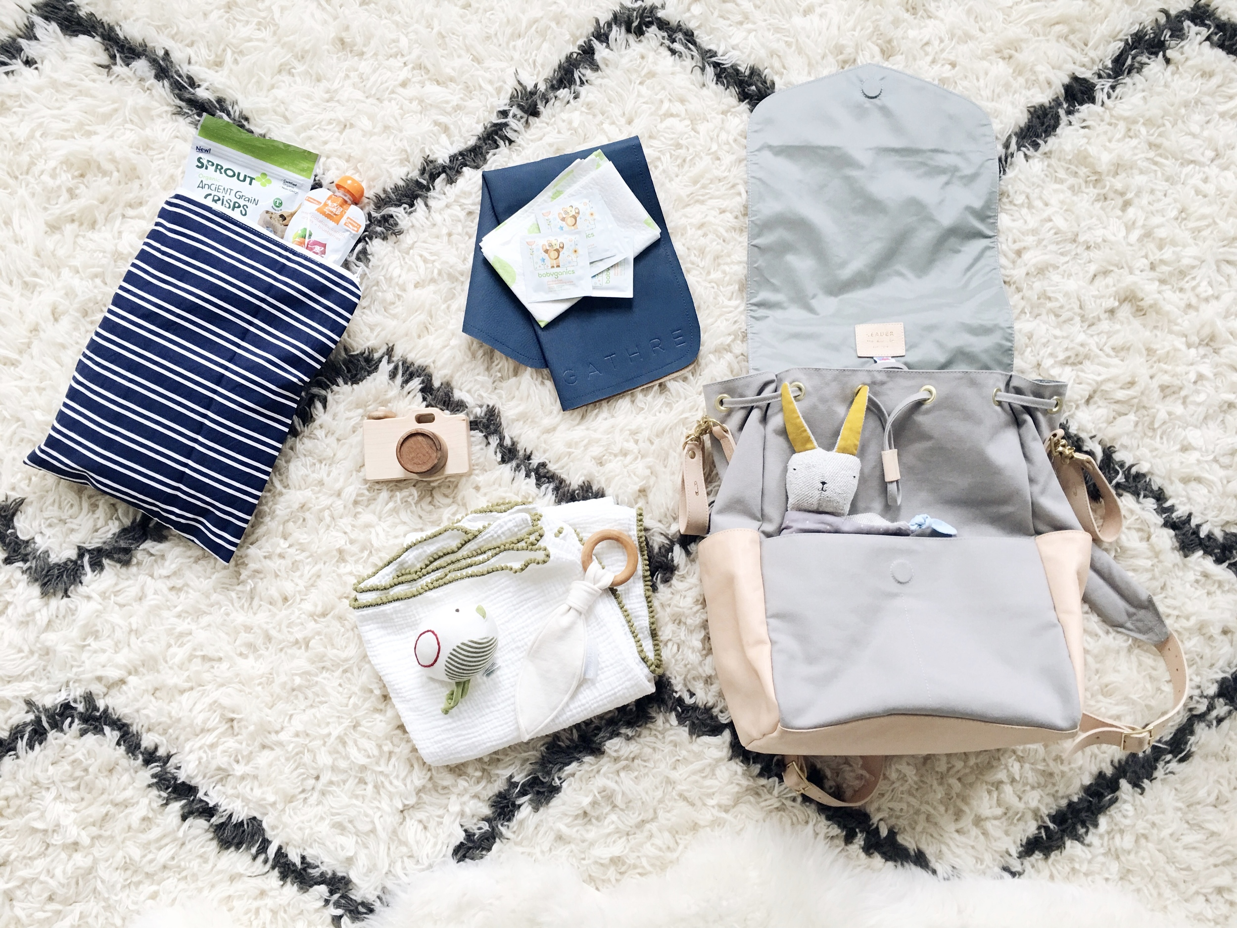 From Top Left:  Itzy Ritzy wet bag ,snacks,  Gathre mat ,  Babyganics wipes ,  Little Sapling Toys camera ,  Hazel Village rattle ,  Ollie and Tate teether ,  Charley Charles swaddle blanket ,  Leader Bag Co. diaper bag ,  Bitte Shop lovie .