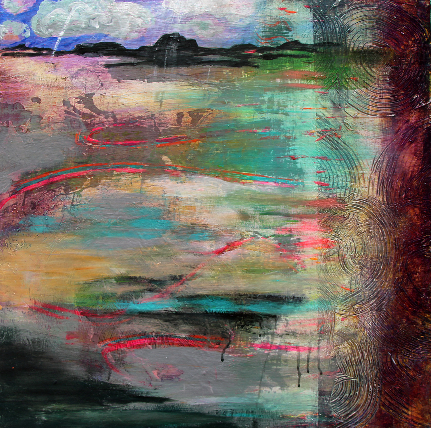 "Lake Edge 24"" 24"" mixed media"