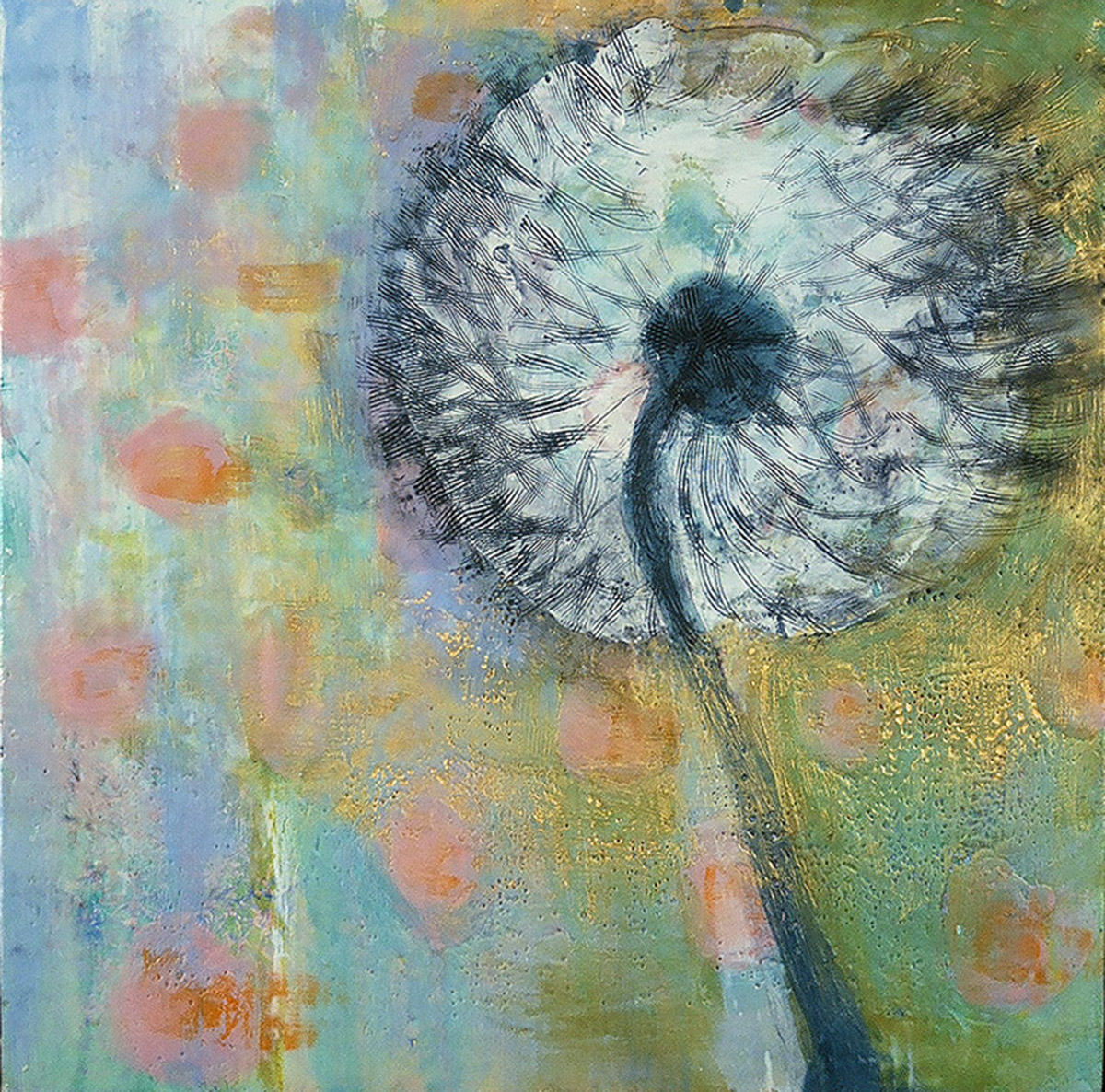 "Blown Away 24"" x 24"" 2015 Encaustic, oil on panel"