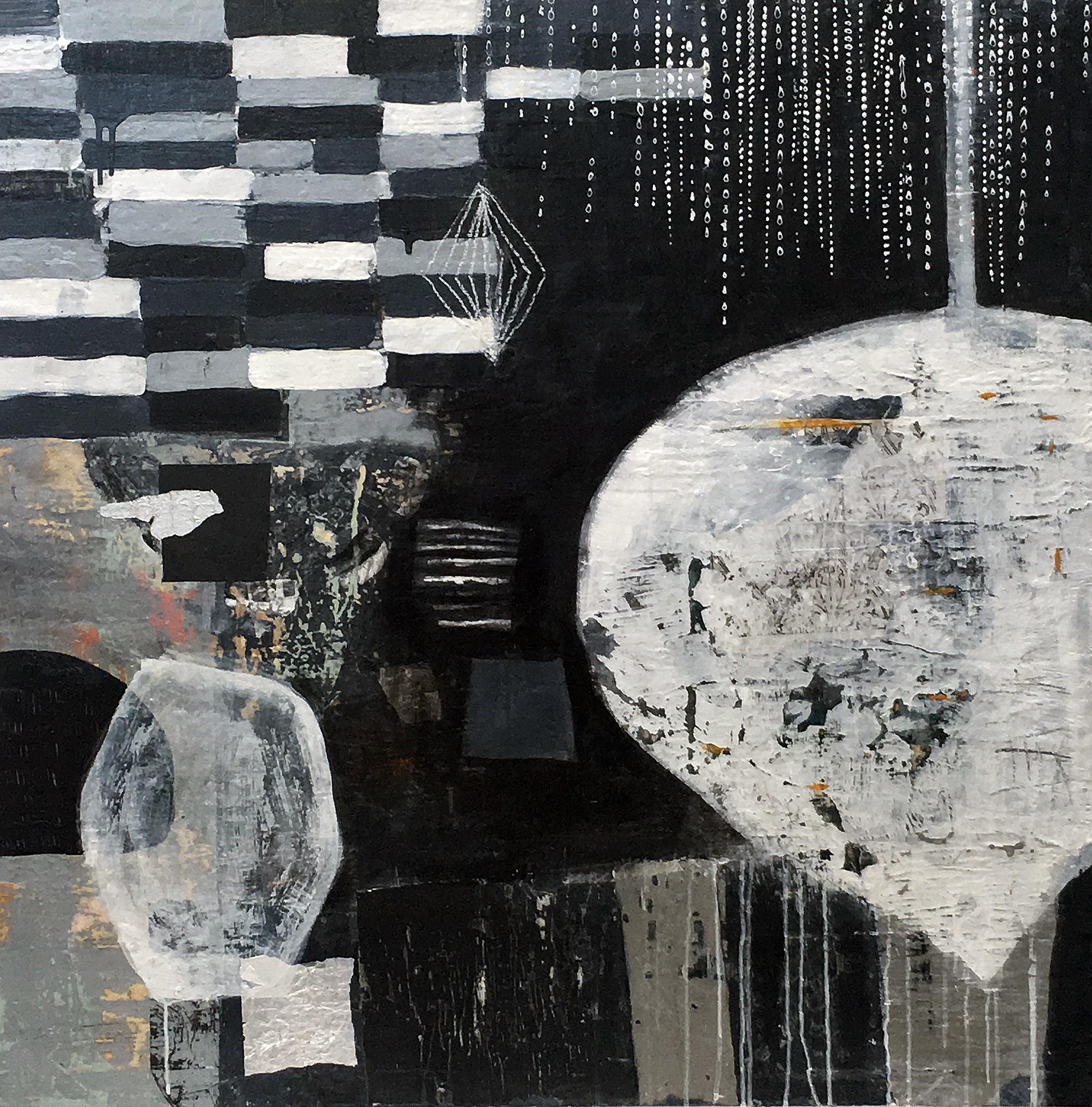 "Float II 36"" x 36"" 2018, Acrylic, paper, pencil on panel"