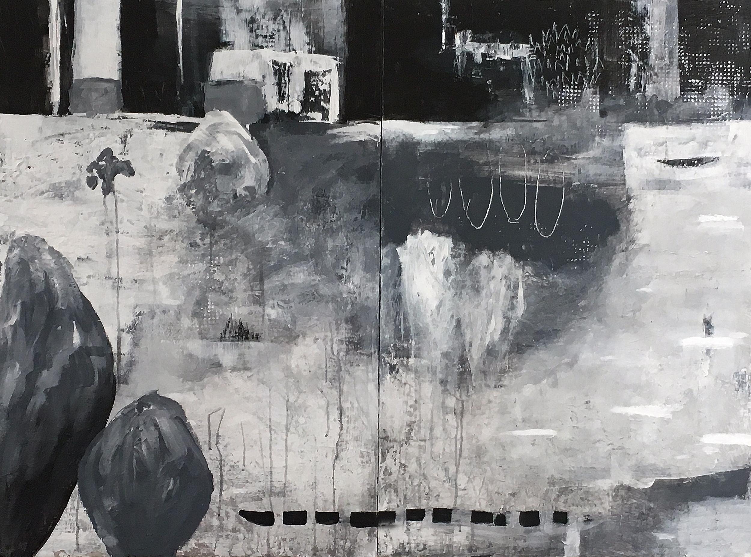 "Hatchita Night 36"" x 48""   Acrylic, paper on panel"
