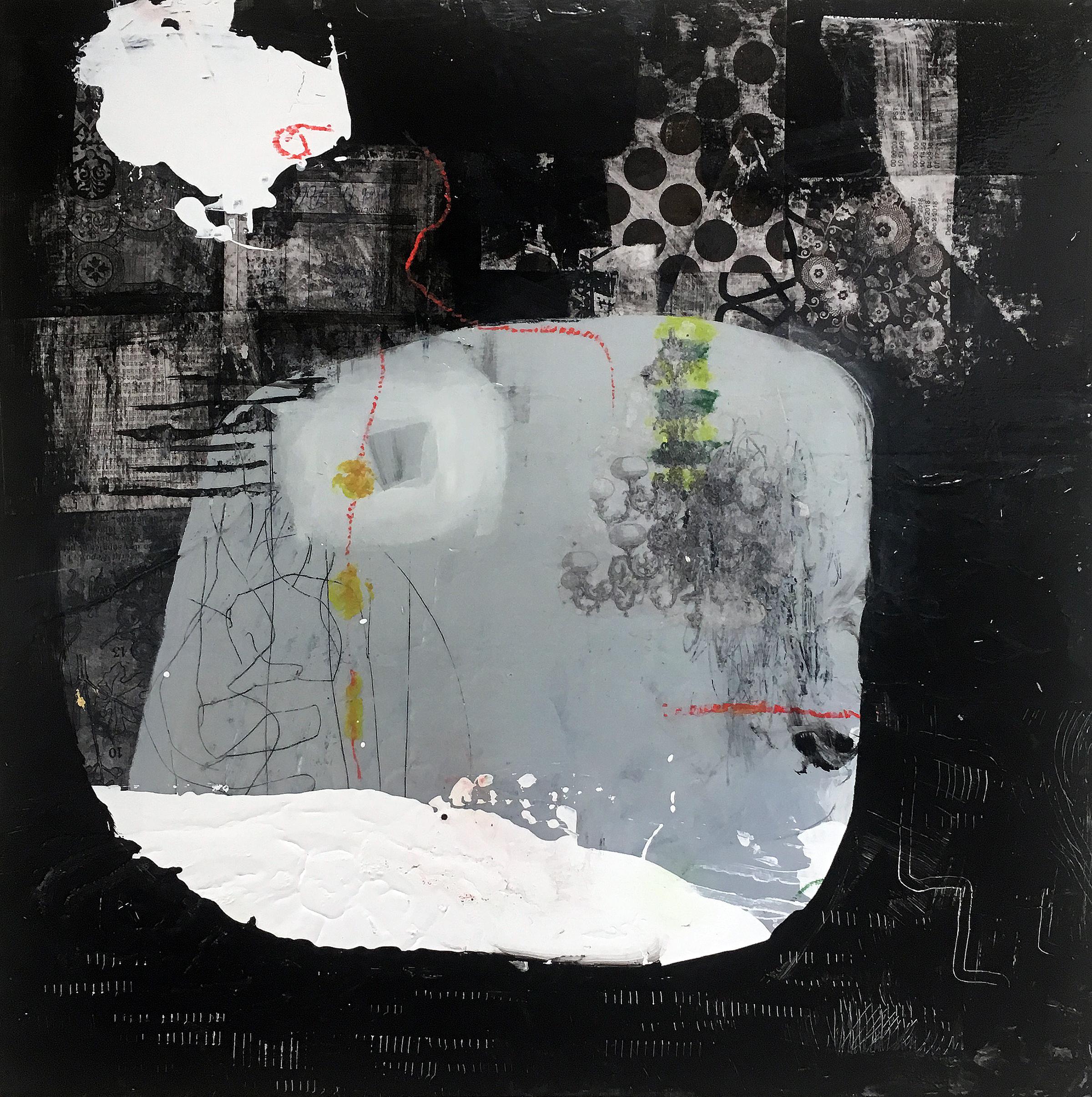 "Sanctum 24"" x 24""  2017 Acrylic, paper on panel"