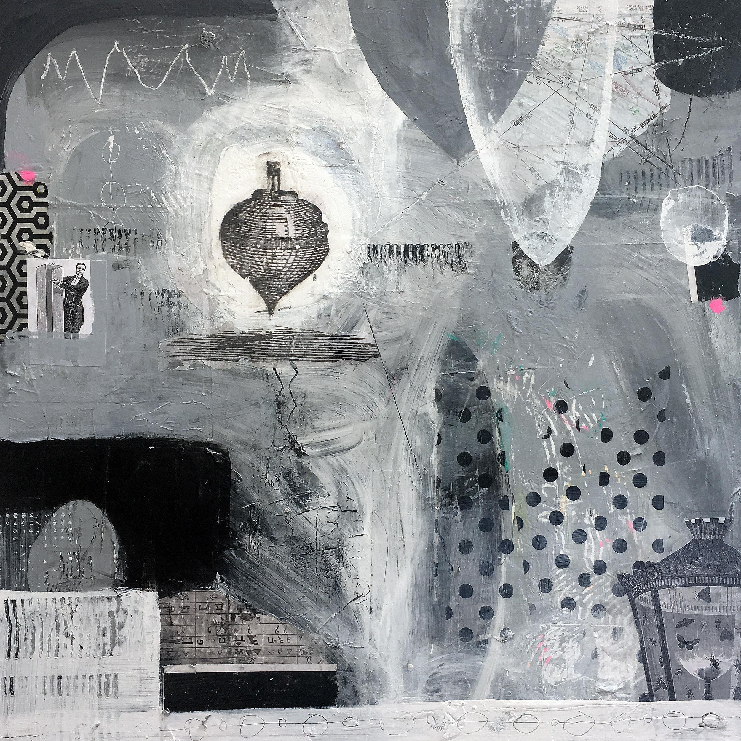 "Tee Totem 24"" x 24""  2017 Acrylic, paper on panel"