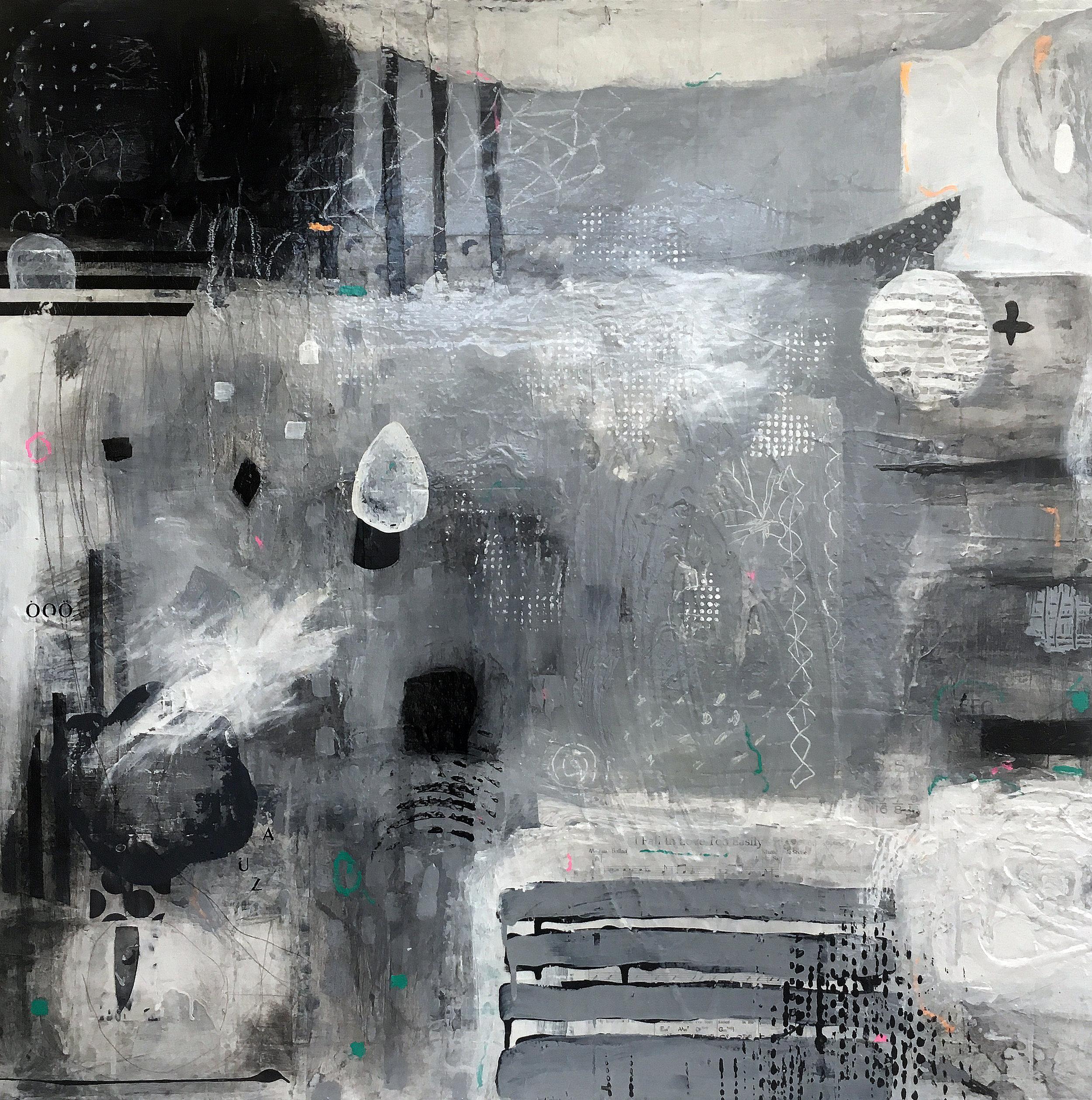 "Zamazan 36"" x 36""  2017 Acrylic, paper on panel"