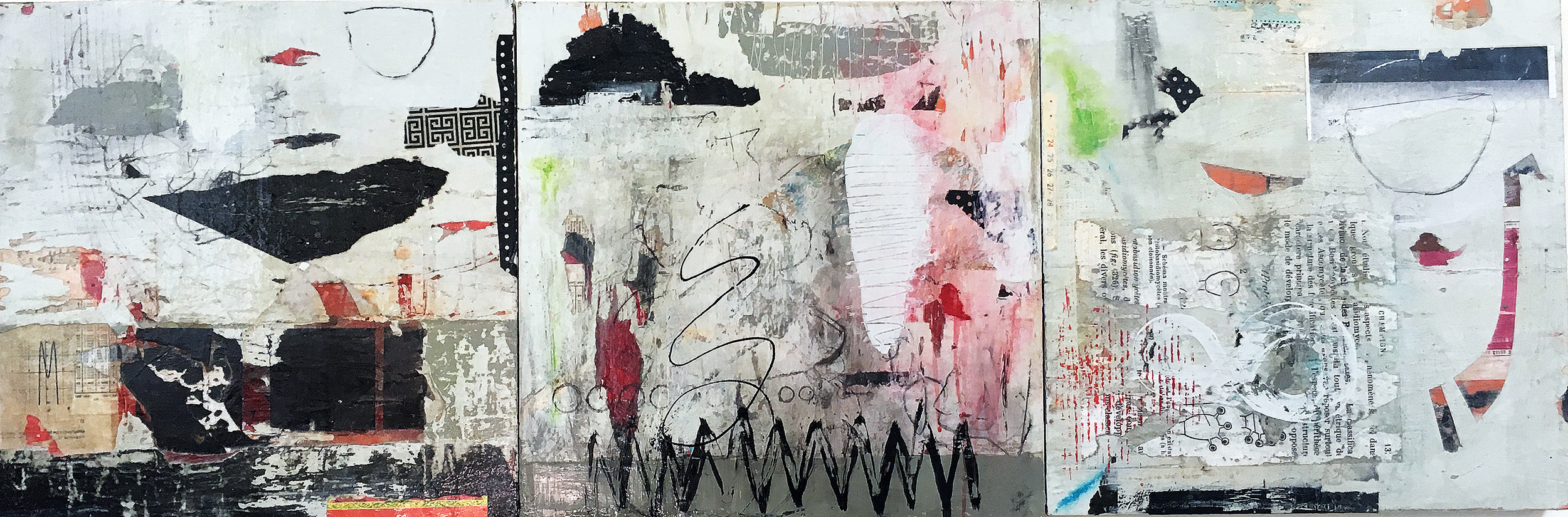 """Silence in Motion III 18"""" x 54""""  2018  Acrylic, paper on panel"""