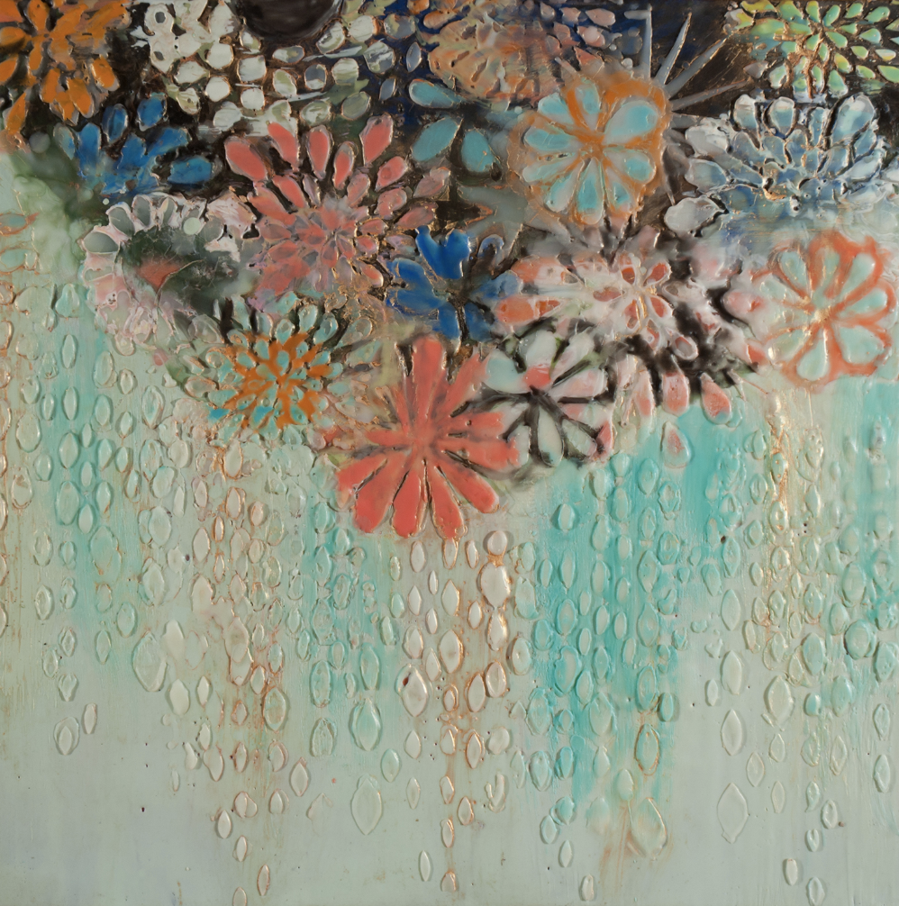 "Abundance 24"" x 24""  2016 Encaustic on panel"