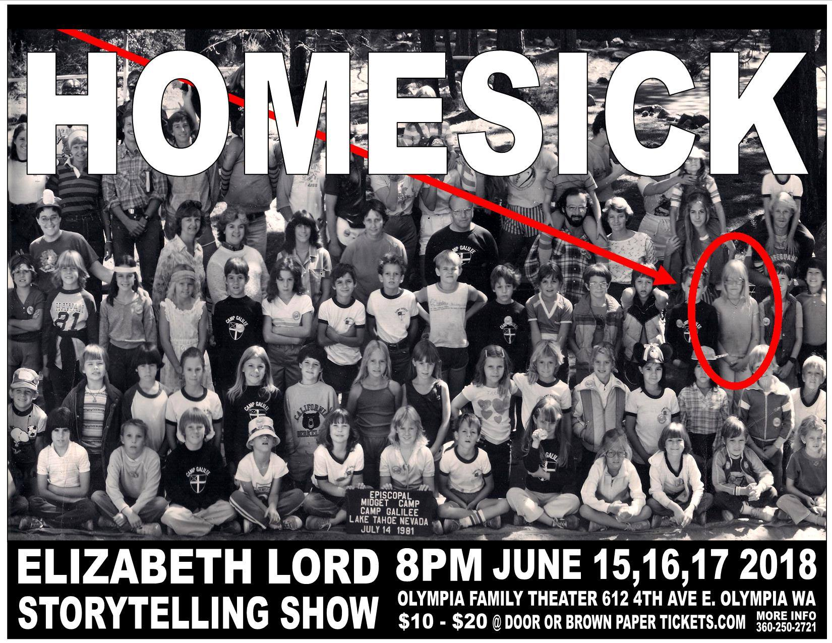 "Support of this episode comes from Elizabeth Lord's upcoming show ""Homesick"". We highly recommend you click this photo and buy tickets to this show."