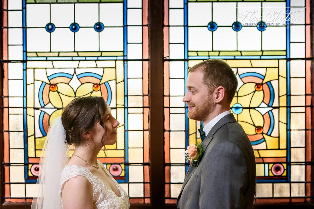 Stained Glass Wedding Portrait