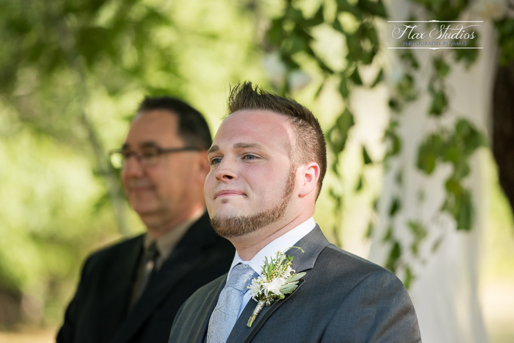 Awaiting his bride at the ceremony