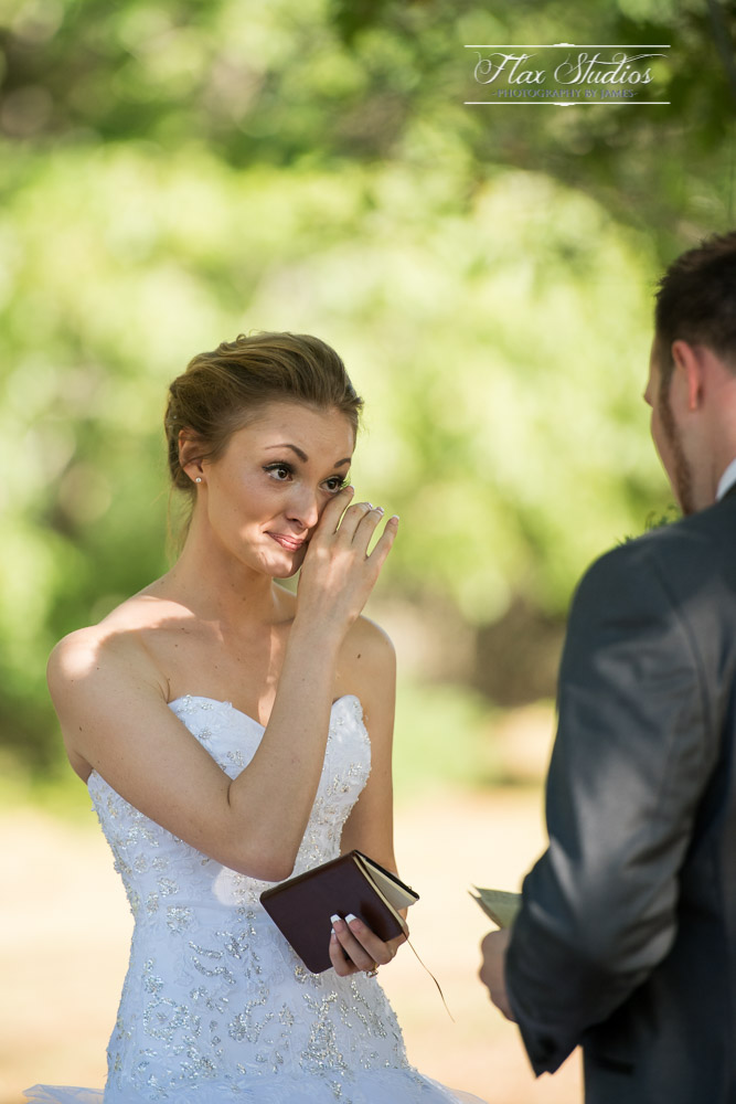 Bride crying during her vows