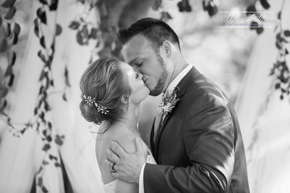 First kiss forest ceremony Flax Studios